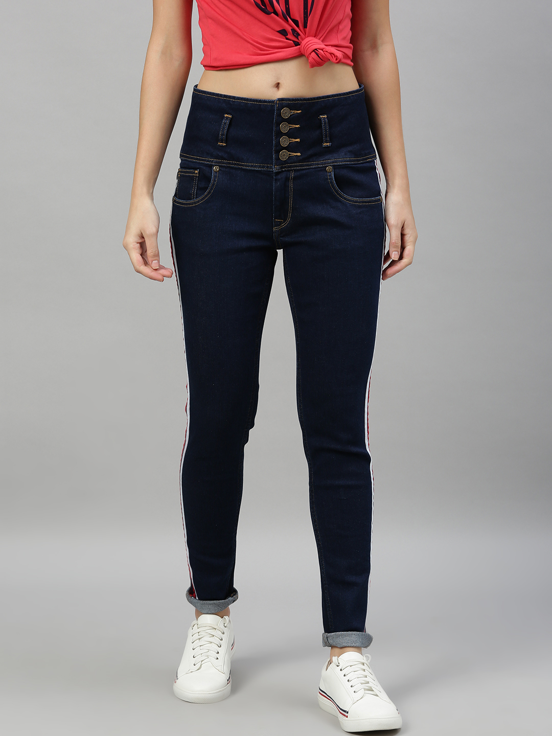 Enviously Young | Enviously Young High Rise 5 Button Navy Blue Jeans with Sidetape