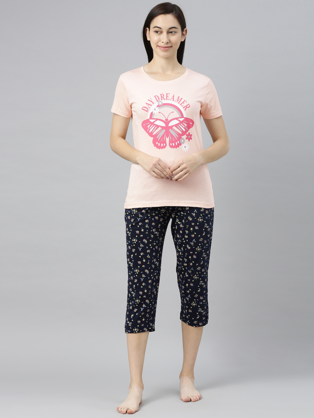 Enviously Young | Enviously Young Light Pink & Navy Capri Night Suits