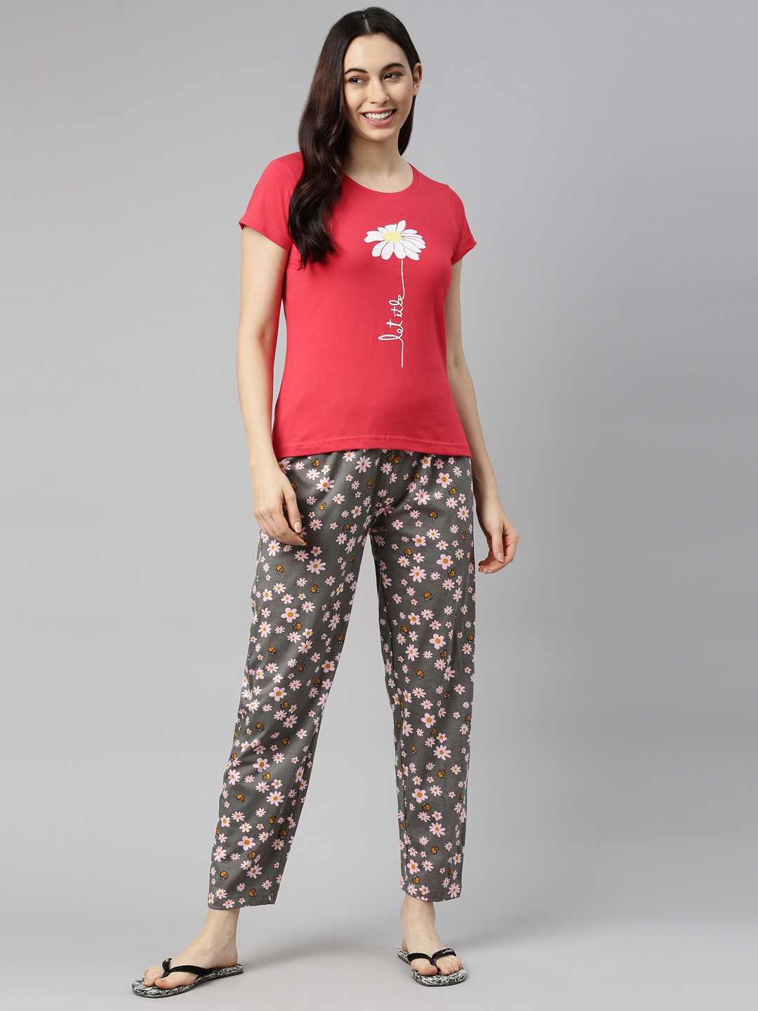 Enviously Young   Enviously Young Pink & Grey Nightsuits for Womens
