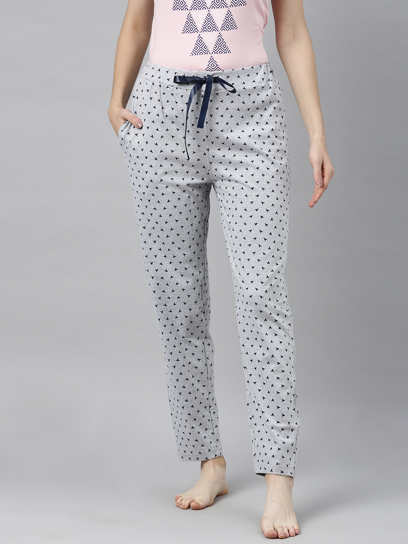 Enviously Young | Enviously Young Grey Melange Triange Printed Pyjama