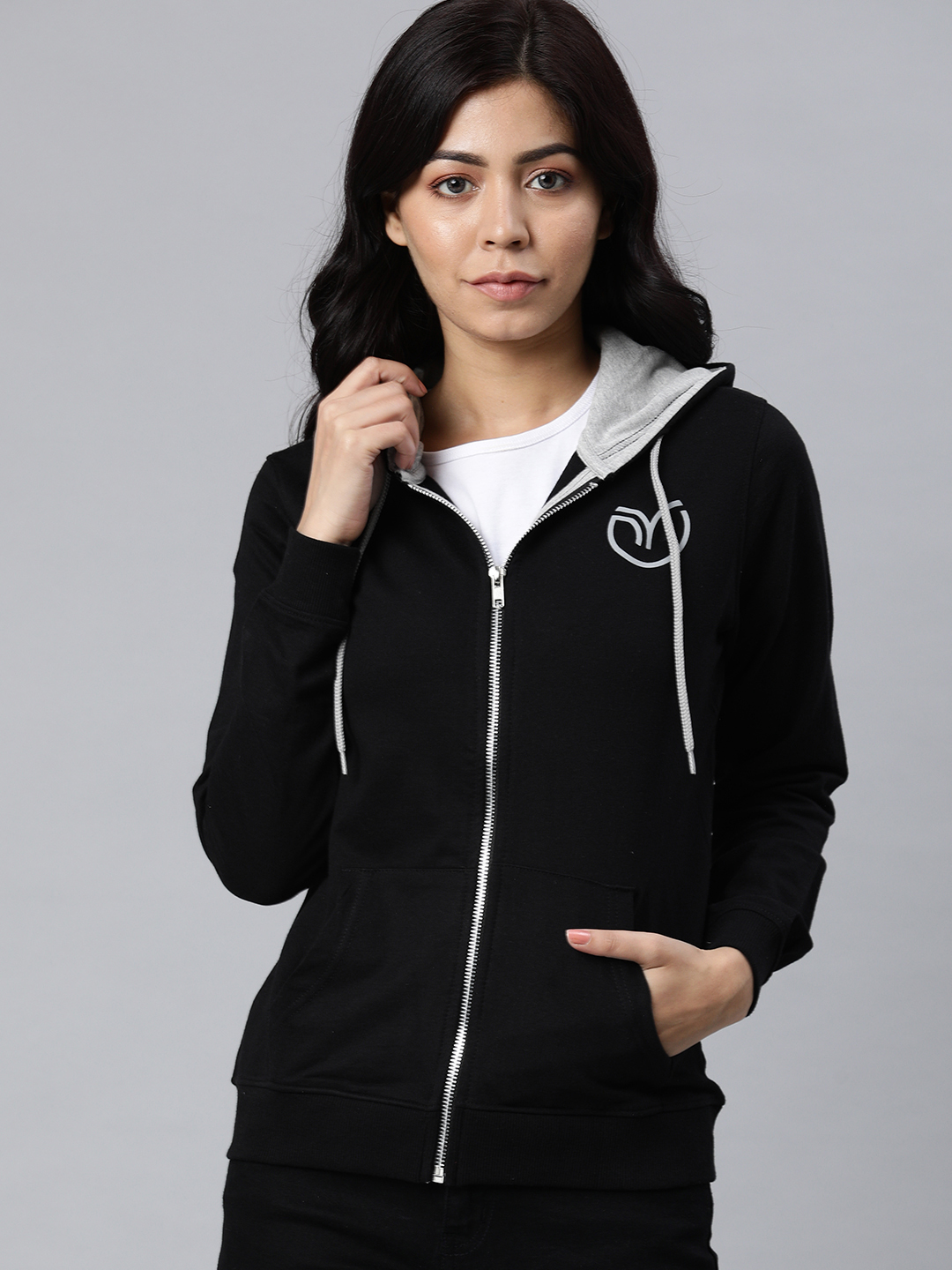 Enviously Young   Enviously Young Black Solid Front-open Sweatshirt