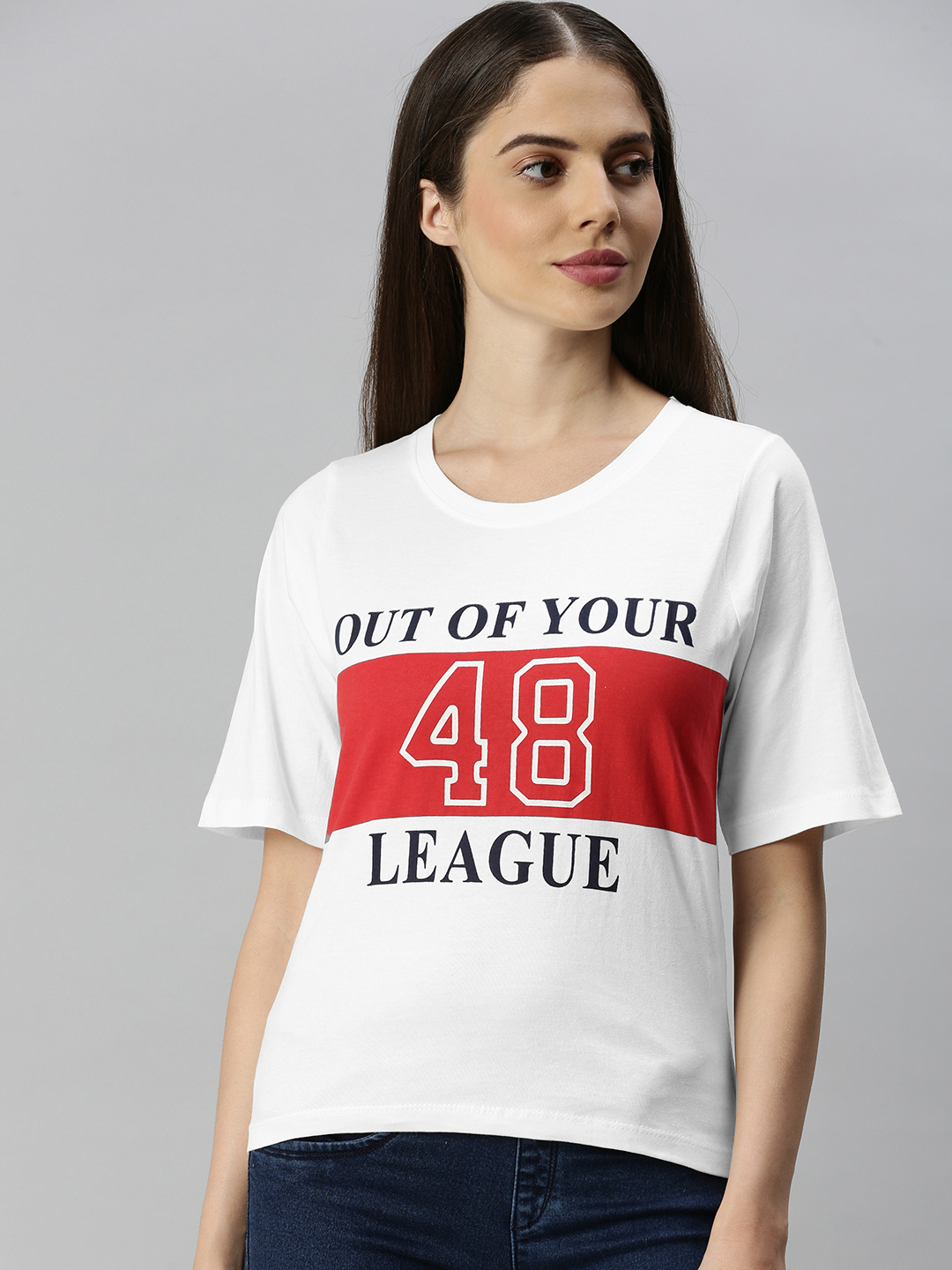 Enviously Young   Enviously Young Off white Short Sleeves Round Neck Printed Tshirt