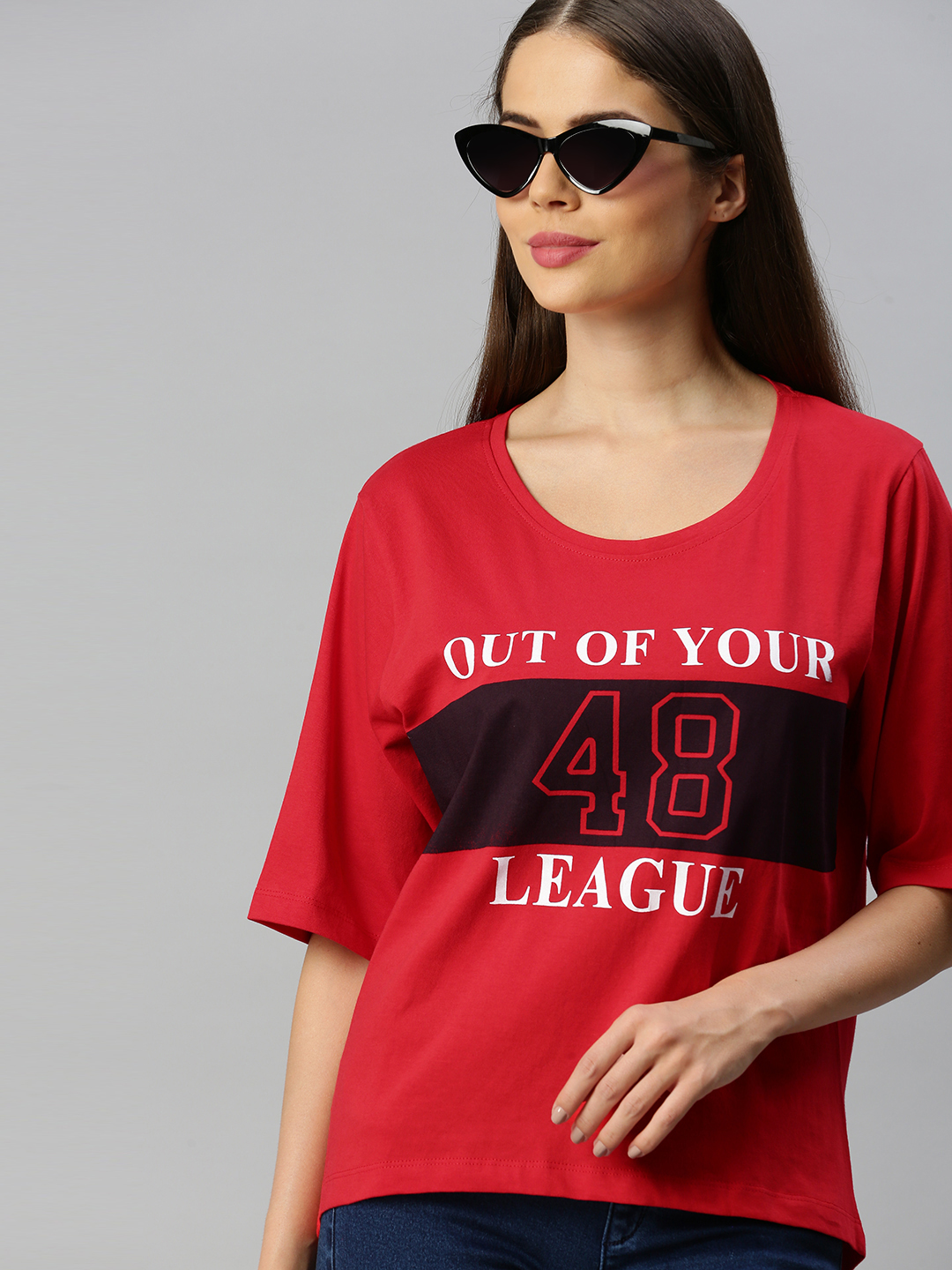 Enviously Young | Enviously Young Red Short Sleeves Round Neck Printed Tshirt