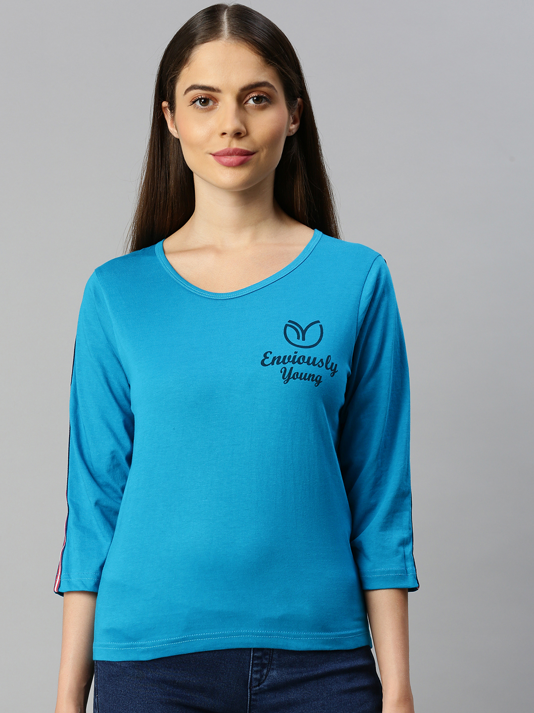Enviously Young   Enviously Young Petrol blue Three-Quarter Sleeves Boat Neck Solid Tshirt