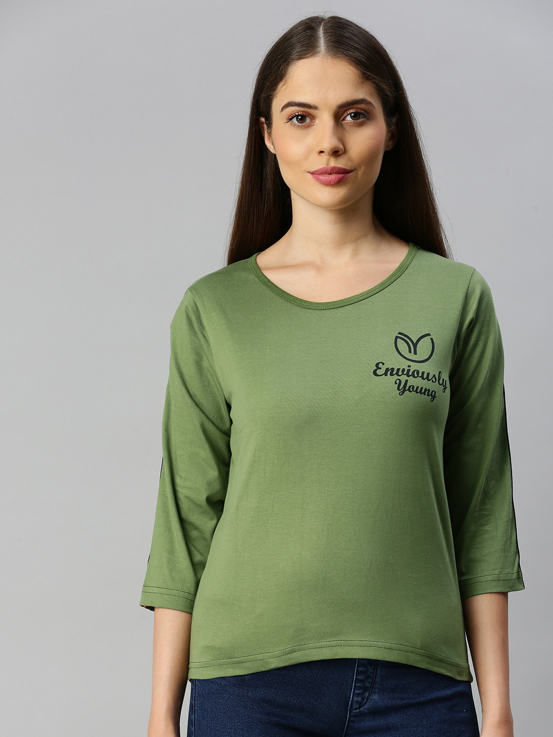 Enviously Young | Enviously Young Olive Three-Quarter Sleeves Boat Neck Solid Tshirt