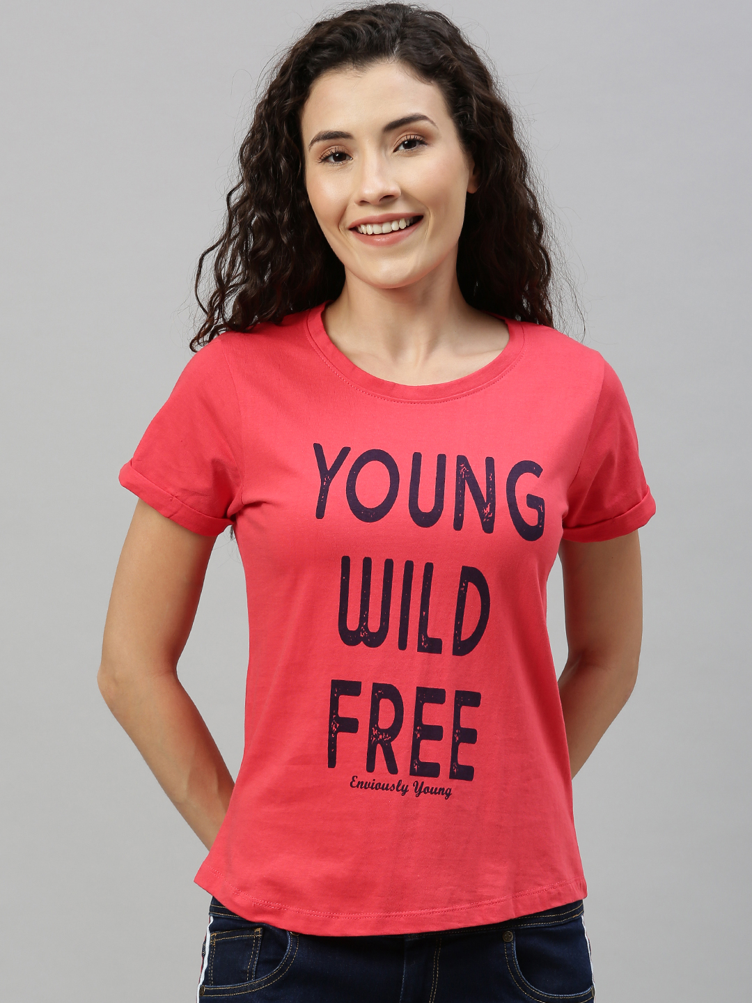Enviously Young | Enviously Young Fuchsia pink Short Sleeves Round Neck Printed Tshirts