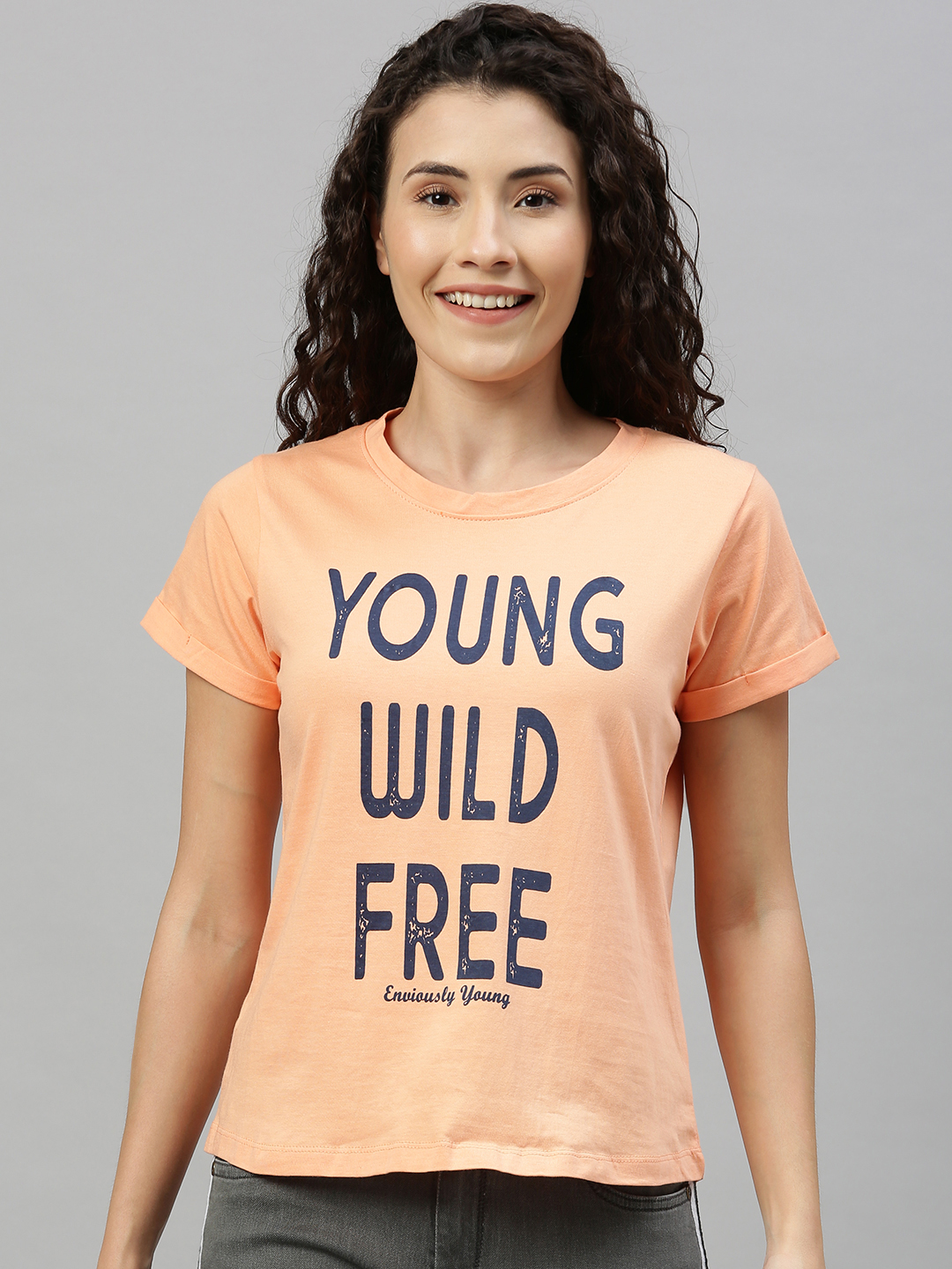 Enviously Young | Enviously Young Peach Short Sleeves Round Neck Printed Tshirts
