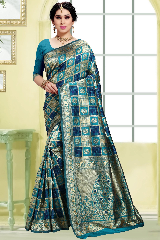 POONAM TEXTILE   Women's Checkered Woven Banarasi Art Silk Saree (Teal)