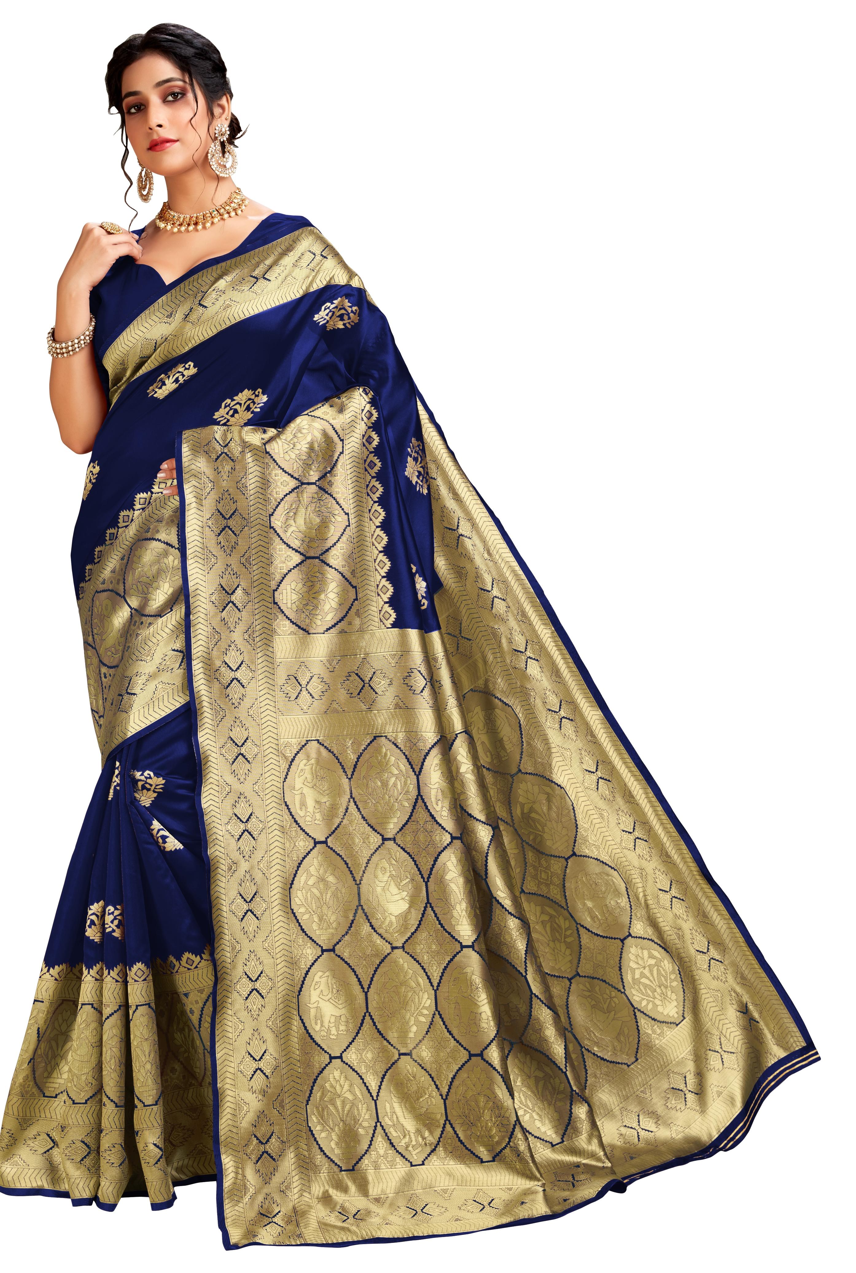 Glemora Blue Lichi Cotton Ekaya Saree With Unstitched Blouse
