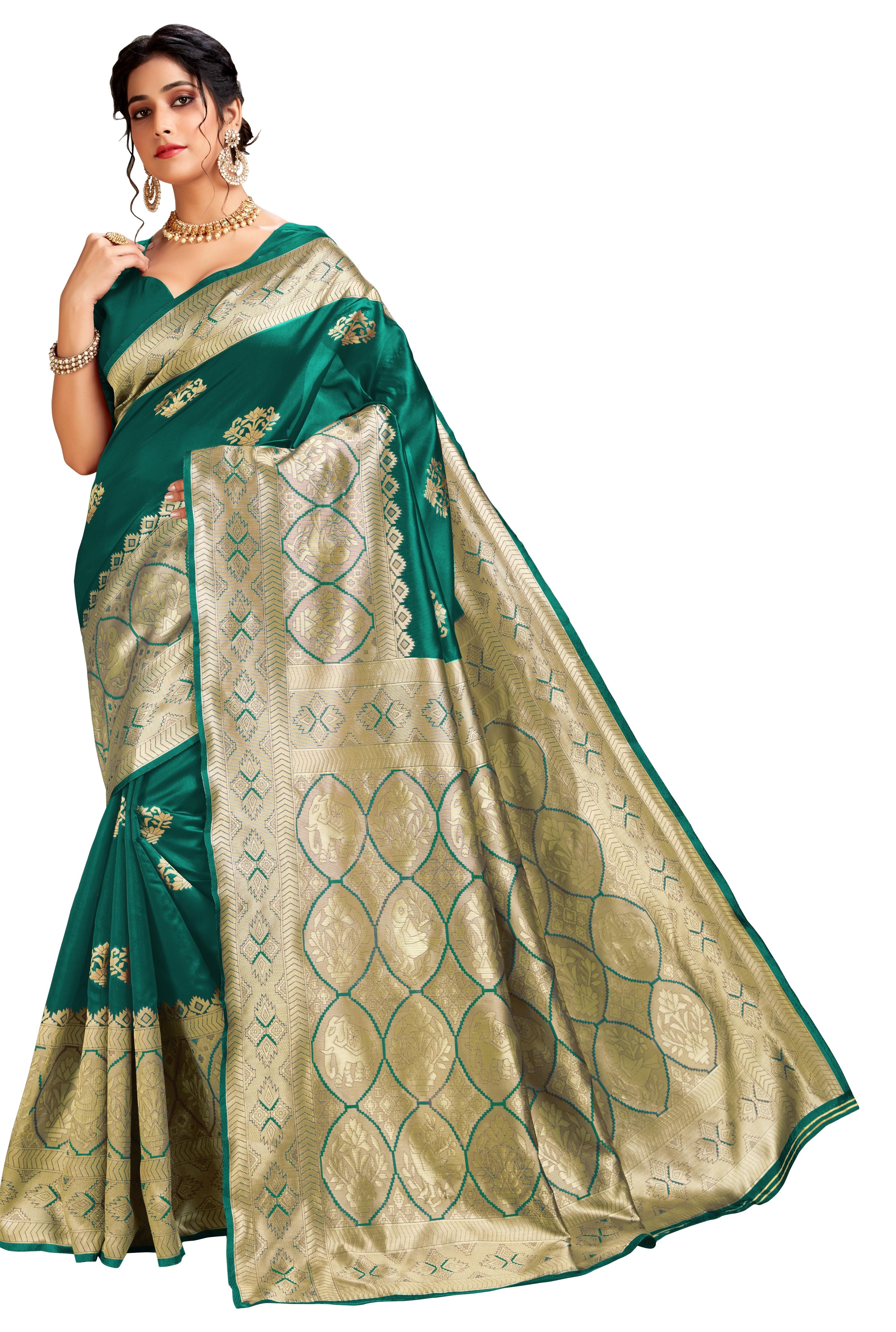 Glemora | Glemora Green Lichi Cotton Ekaya Saree With Unstitched Blouse