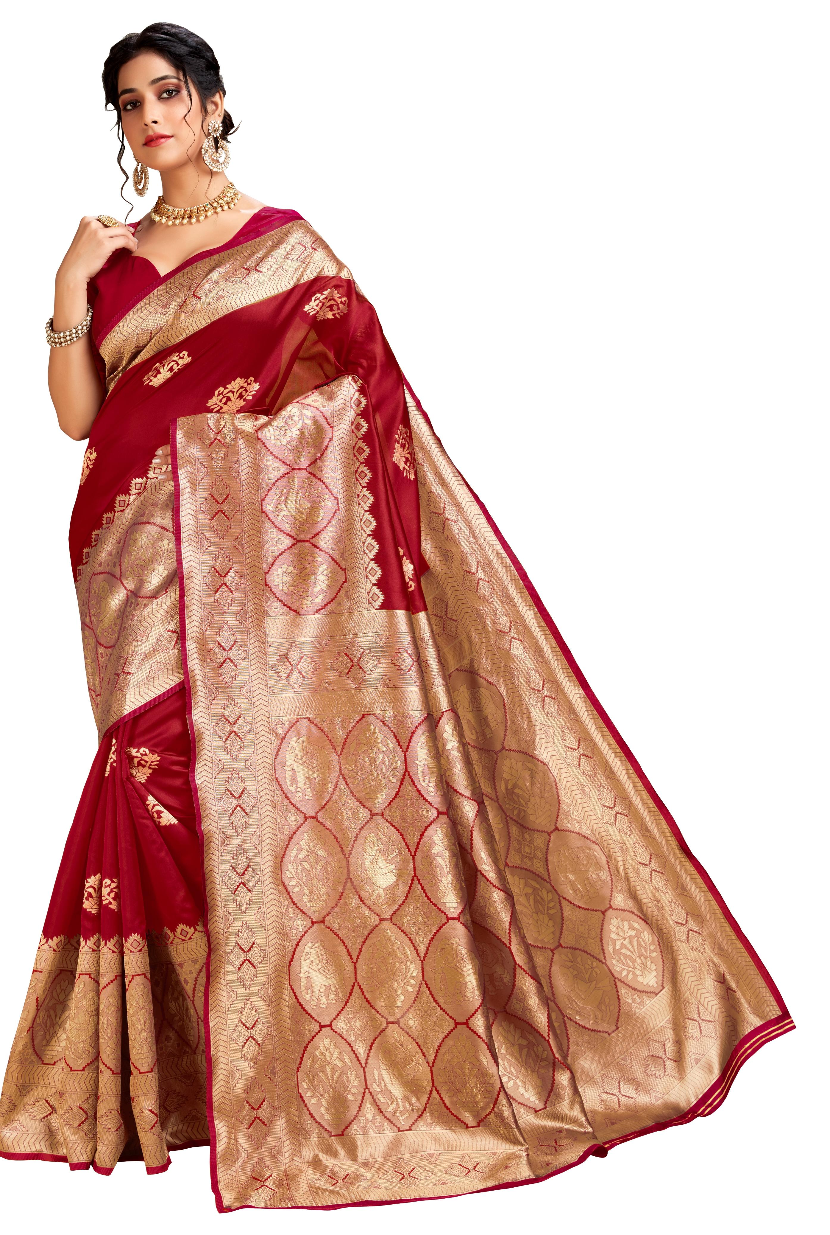Glemora | Glemora Red Lichi Cotton Ekaya Saree With Unstitched Blouse