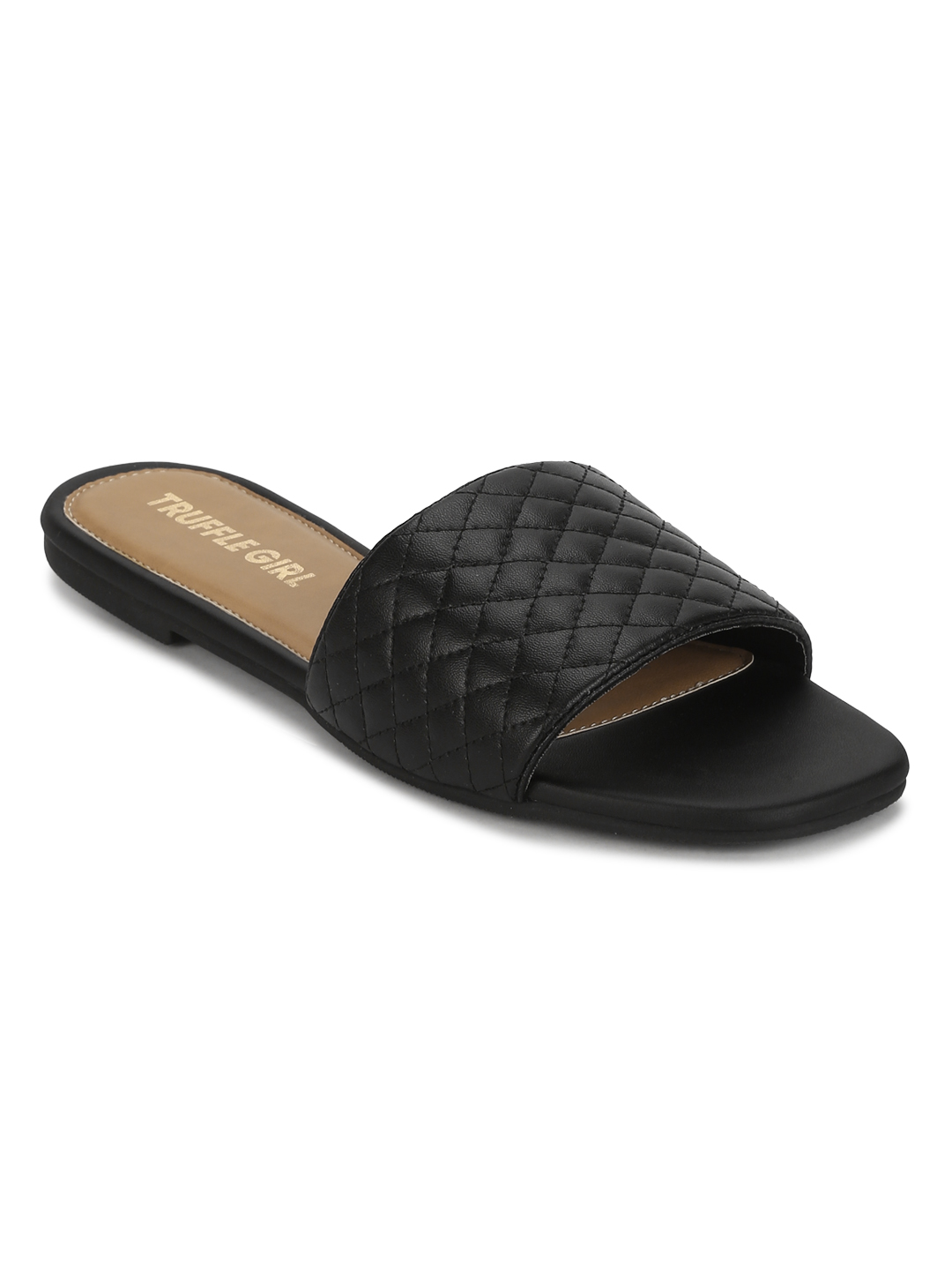 Truffle Collection | Black Quilted PU Slide on Flat Sandals