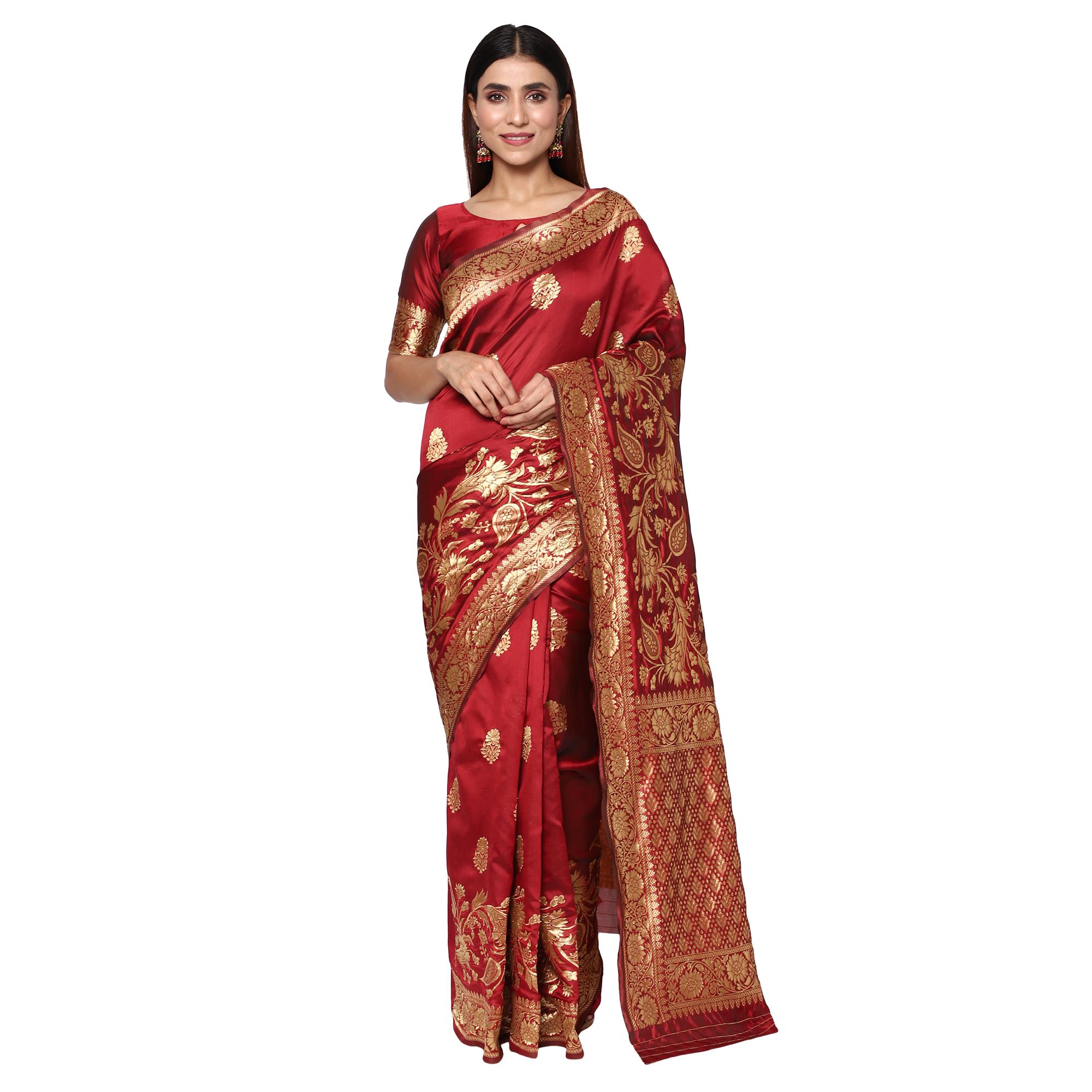 Glemora | Glemora Maroon Fancy Ethnic Wear Silk Blend Banarasi Traditional Saree