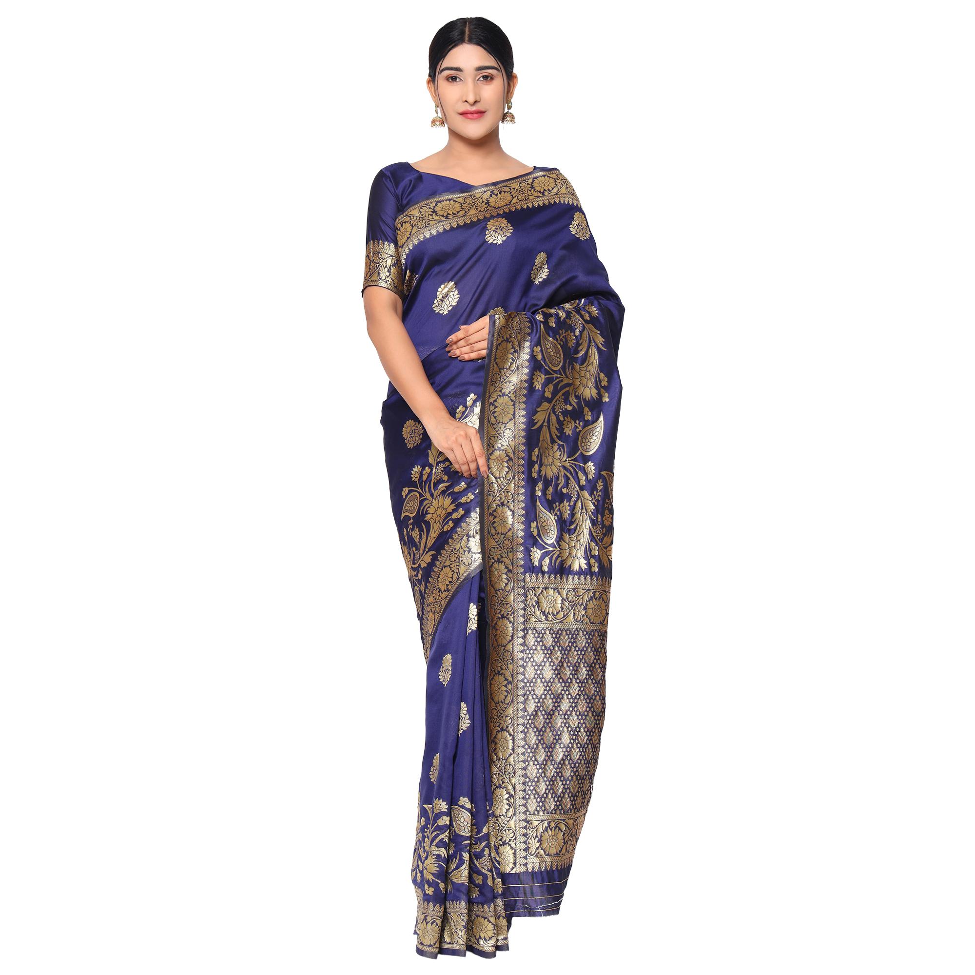 Glemora Nevy Blue Fancy Ethnic Wear Silk Blend Banarasi Traditional Saree