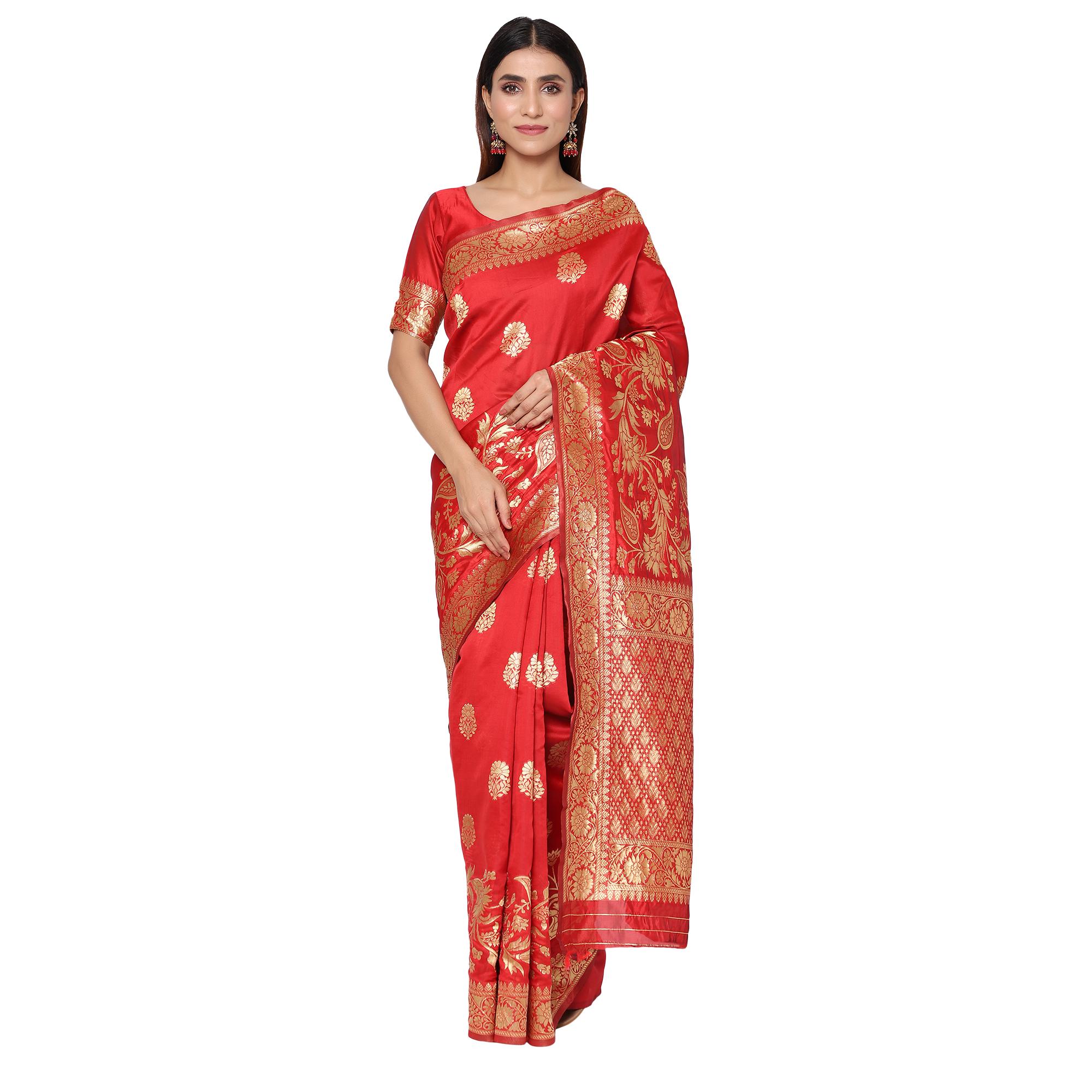 Glemora | Glemora Red Fancy Ethnic Wear Silk Blend Banarasi Traditional Saree