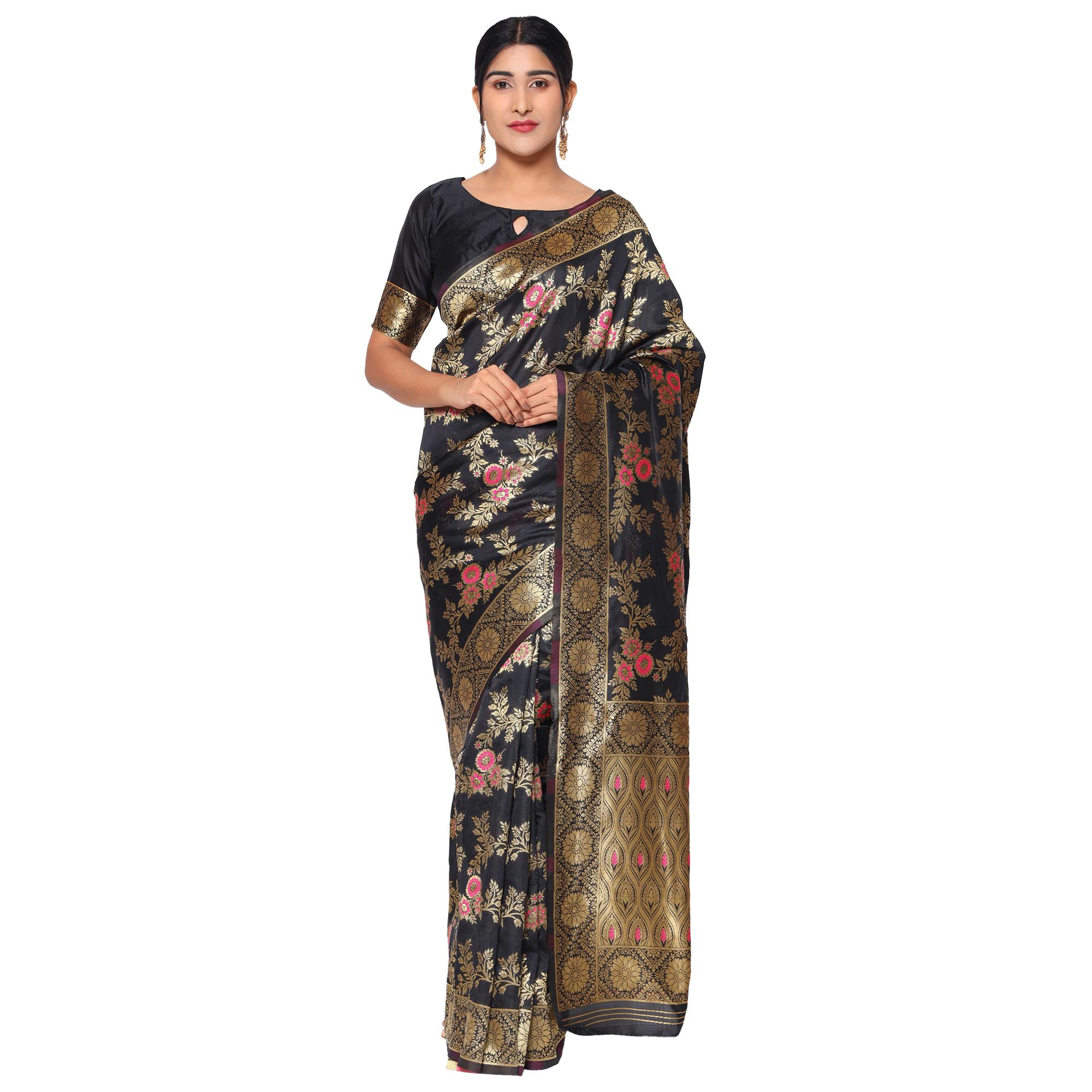 Glemora | Glemora Black Designer Ethnic Wear Silk Blend Banarasi Traditional Saree