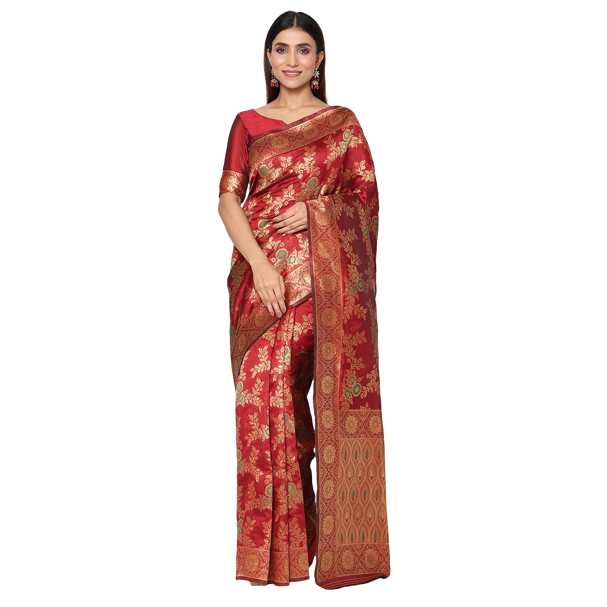 Glemora | Glemora Maroon Designer Ethnic Wear Silk Blend Banarasi Traditional Saree