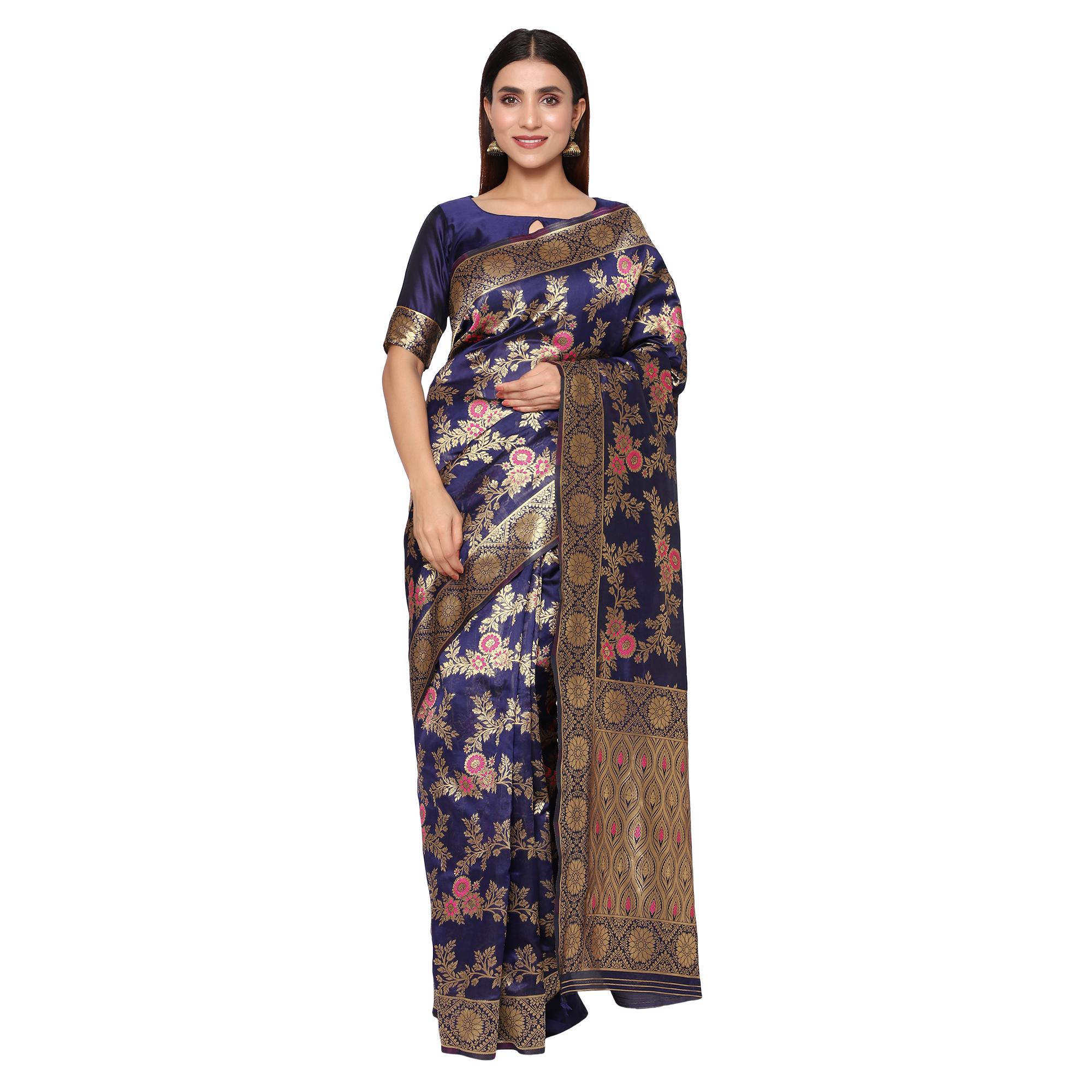 Glemora Nevy Blue Designer Ethnic Wear Silk Blend Banarasi Traditional Saree