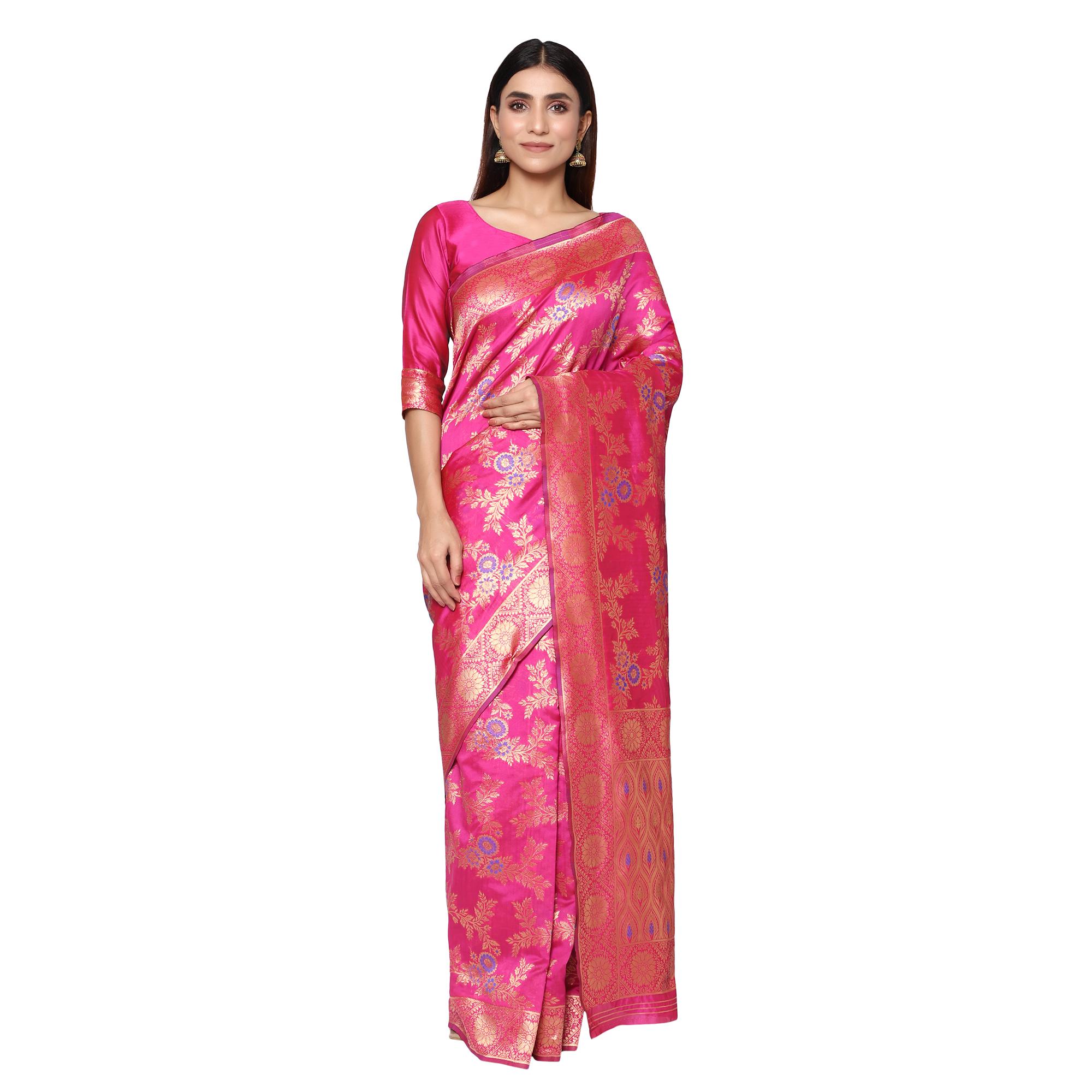 Glemora | Glemora Pink Designer Ethnic Wear Silk Blend Banarasi Traditional Saree