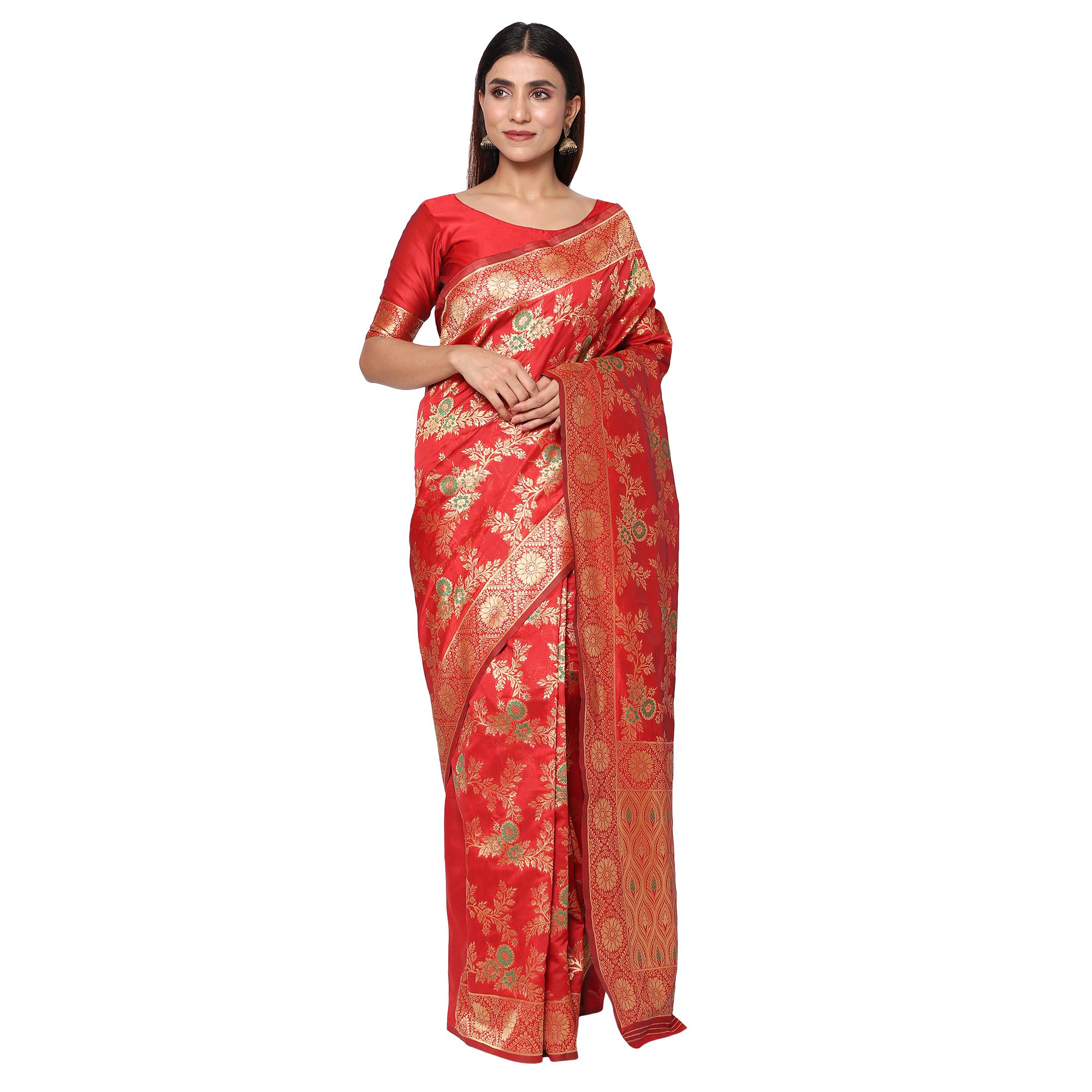 Glemora | Glemora Red Designer Ethnic Wear Silk Blend Banarasi Traditional Saree