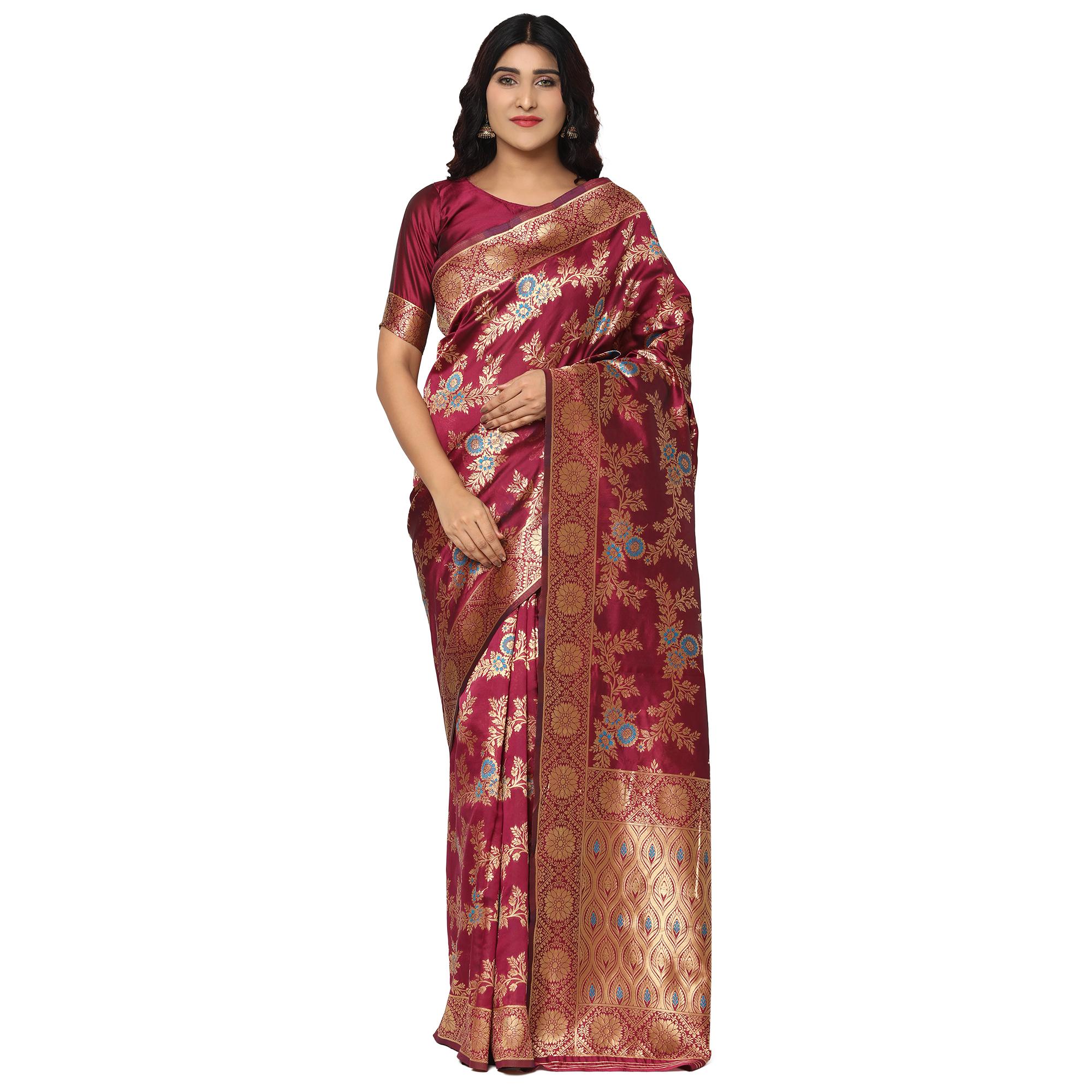 Glemora Wine Designer Ethnic Wear Silk Blend Banarasi Traditional Saree