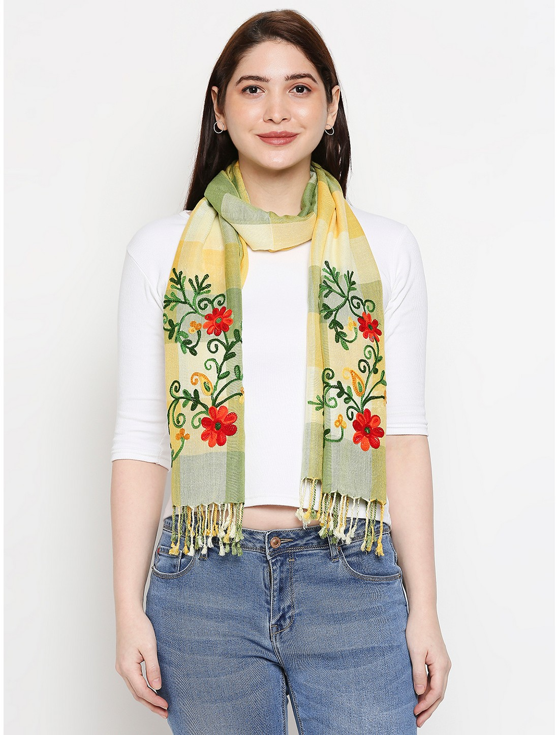 Get Wrapped | Get Wrapped Multi Yarn Dyed Scarves with Embroidery for Women