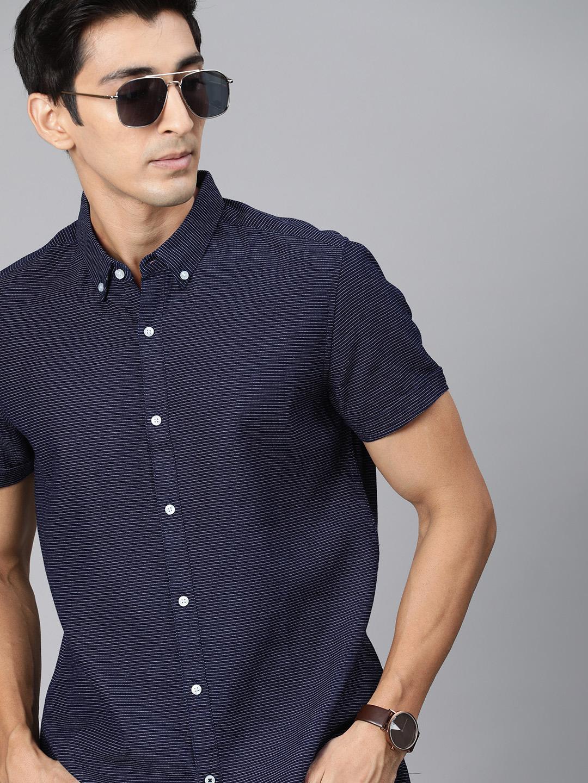 The Bear House | Men's Blue Striped Casual Shirt