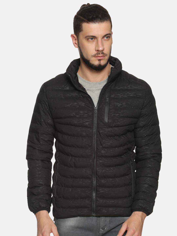Showoff   Men Black Solid Padded Jacket with Detachable Hood