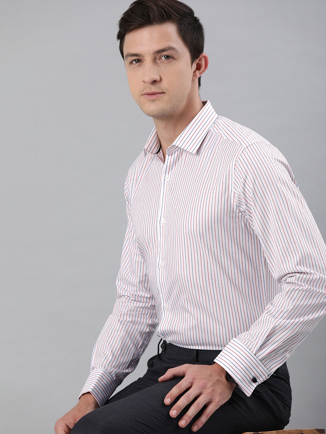 The Bear House | THE BEAR HOUSE Men White  Navy Blue Slim Fit Striped French-Cuff Formal Shirt