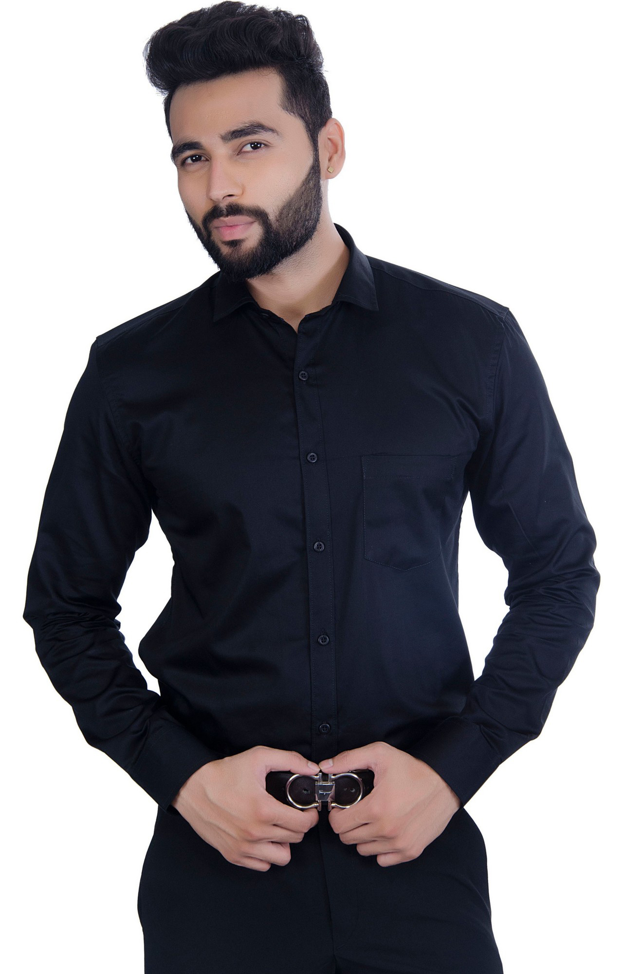 FIFTH ANFOLD Solid Pure Cotton Formal Full Long Sleev Black Spread Collar Mens Shirt