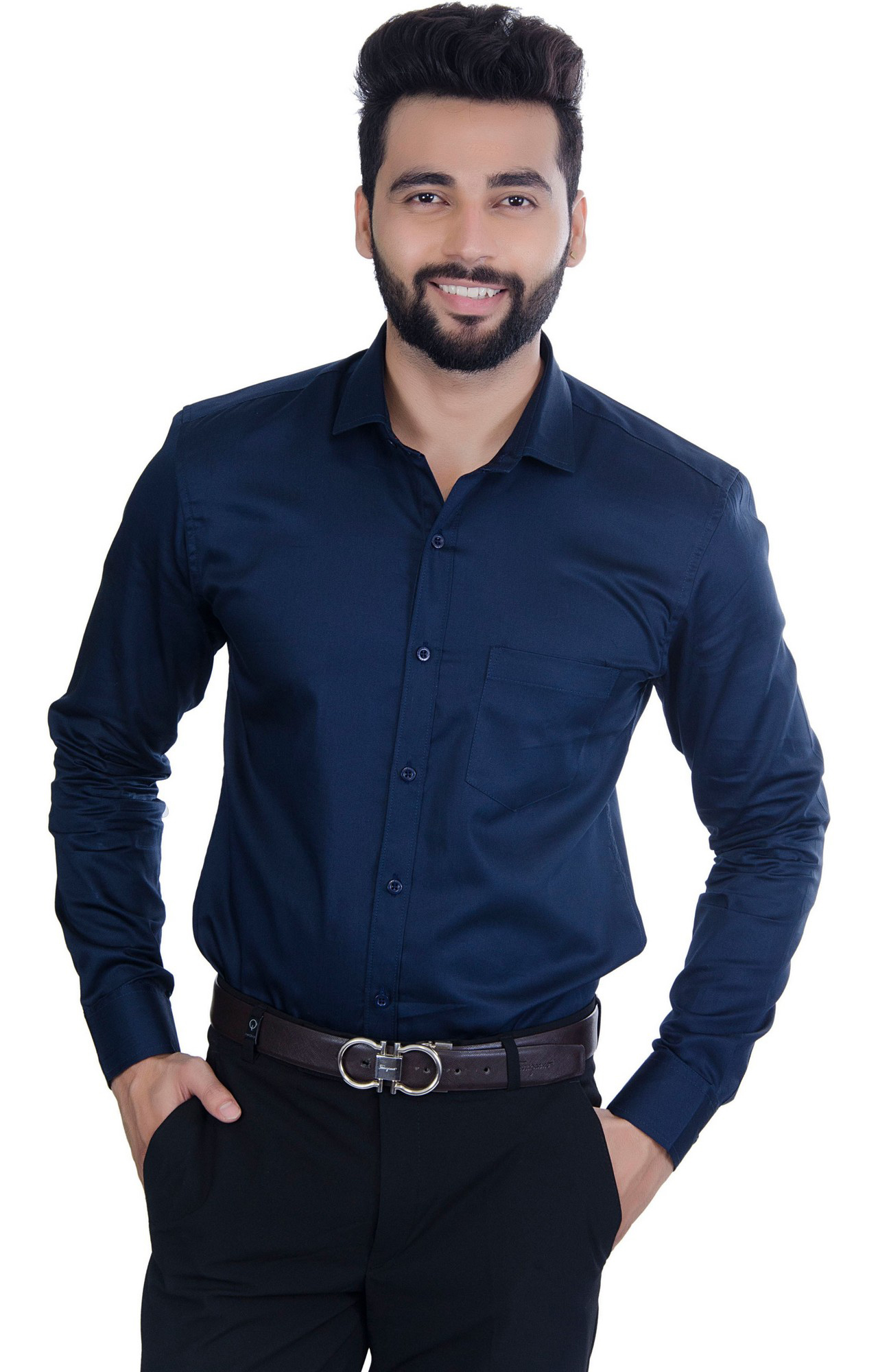 5th Anfold | FIFTH ANFOLD Solid Pure Cotton Formal Full Long Sleev Navy Blue Spread Collar Mens Shirt