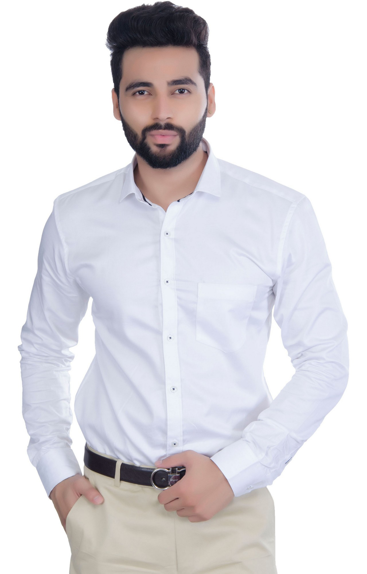 5th Anfold | FIFTH ANFOLD Solid Pure Cotton Formal Full Long Sleev White Spread Collar Mens Shirt