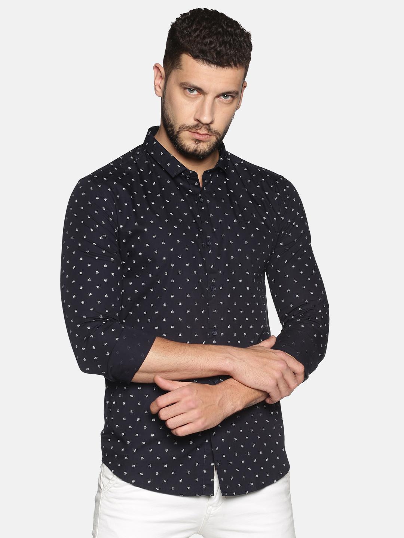 Showoff | SHOWOFF Men's Cotton Casual Black Printed Slim Fit Shirt