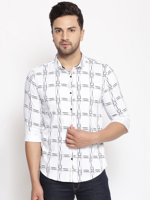 Showoff | SHOWOFF Men's  Cotton  White Solid Slim Fit Shirt