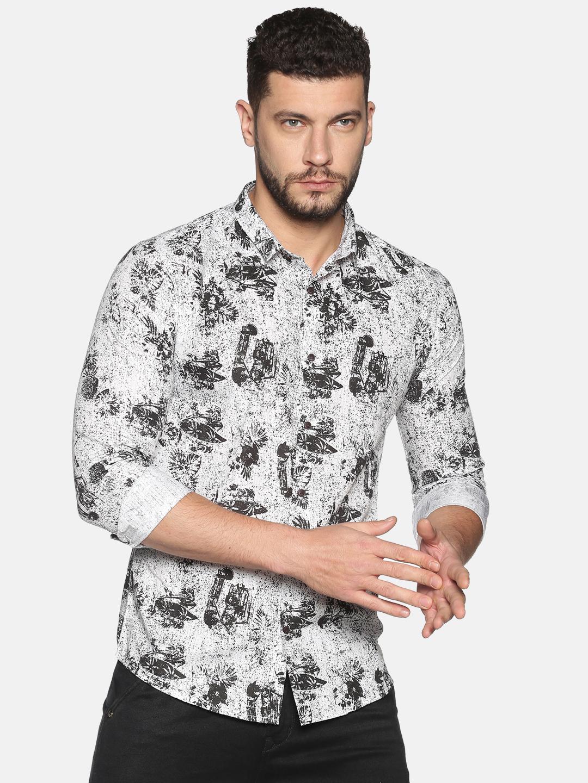 Showoff | SHOWOFF Men's Cotton Casual WhiteBlack Printed Slim Fit Shirt