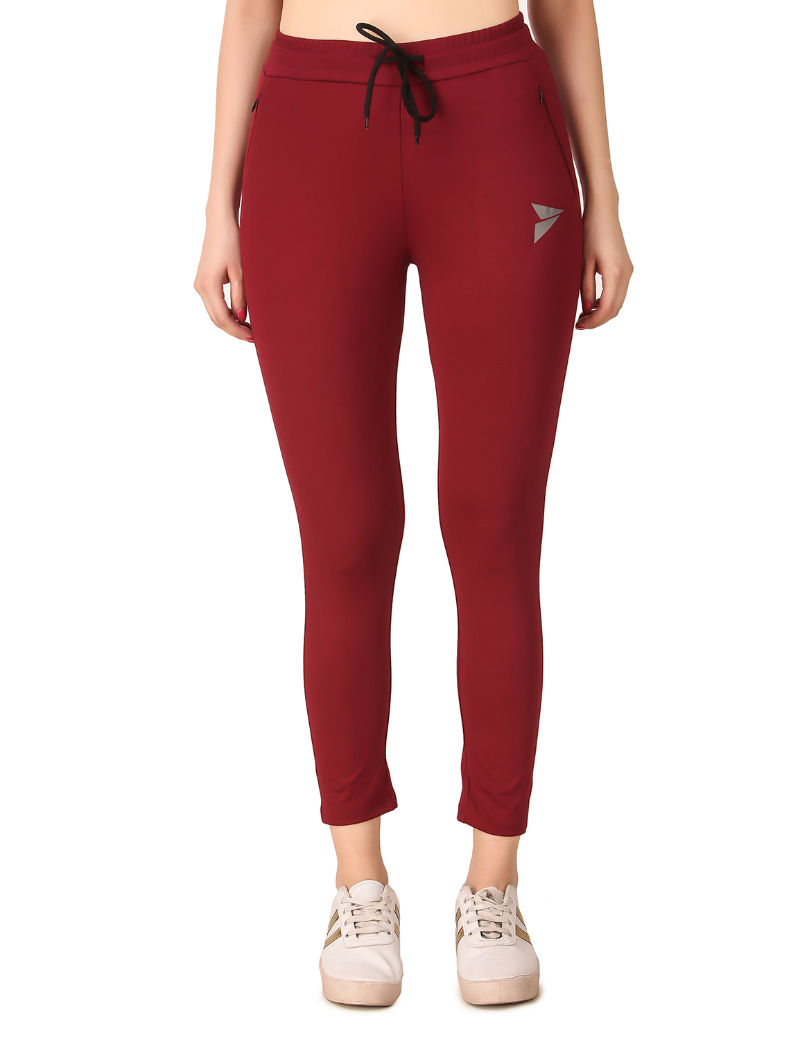 Fitinc | Fitinc Women Maroon Trackpant with Concealed Zipper Pockets and Drawstring