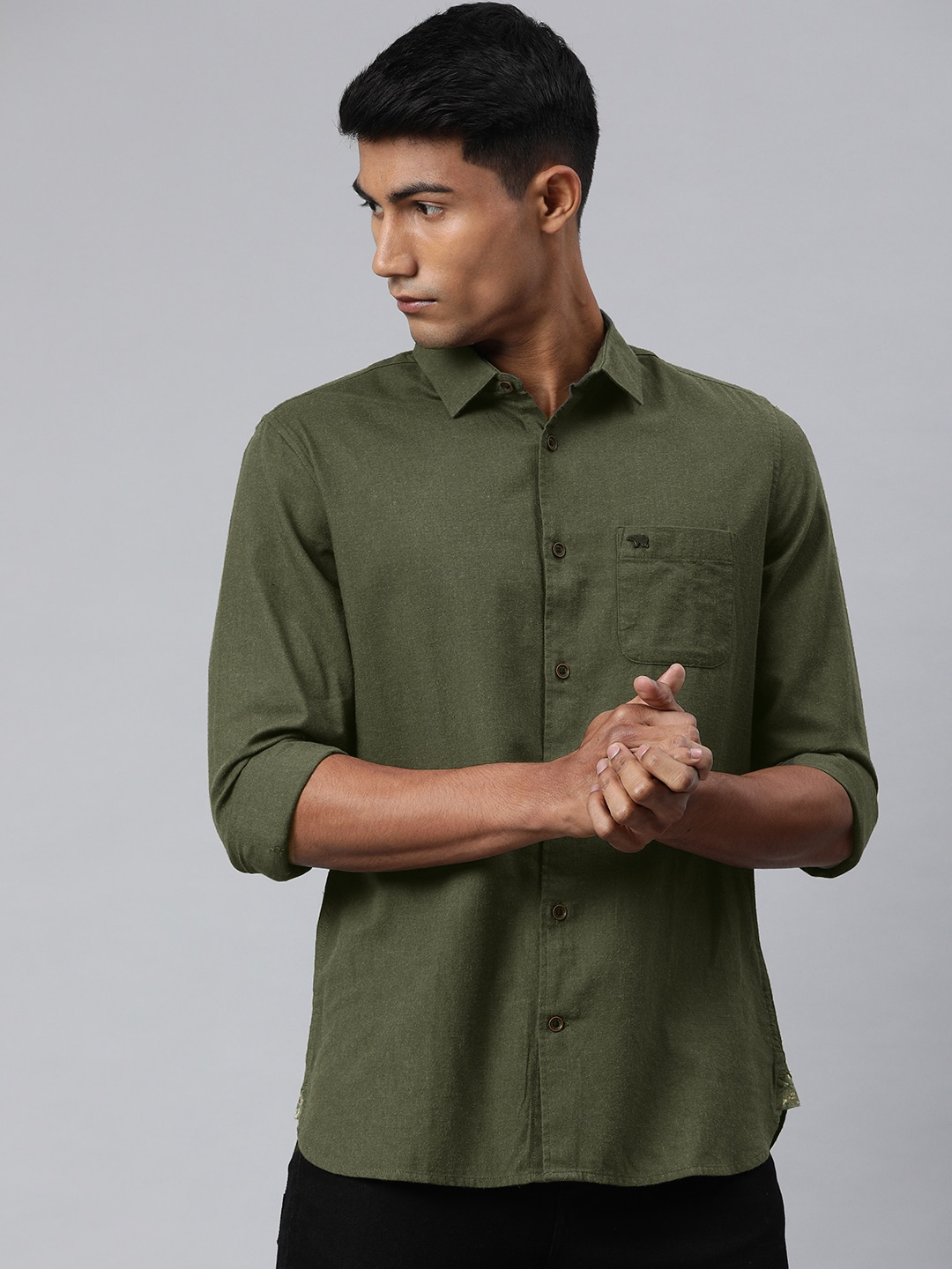 The Bear House | Men's Olive Solid Casual Shirt