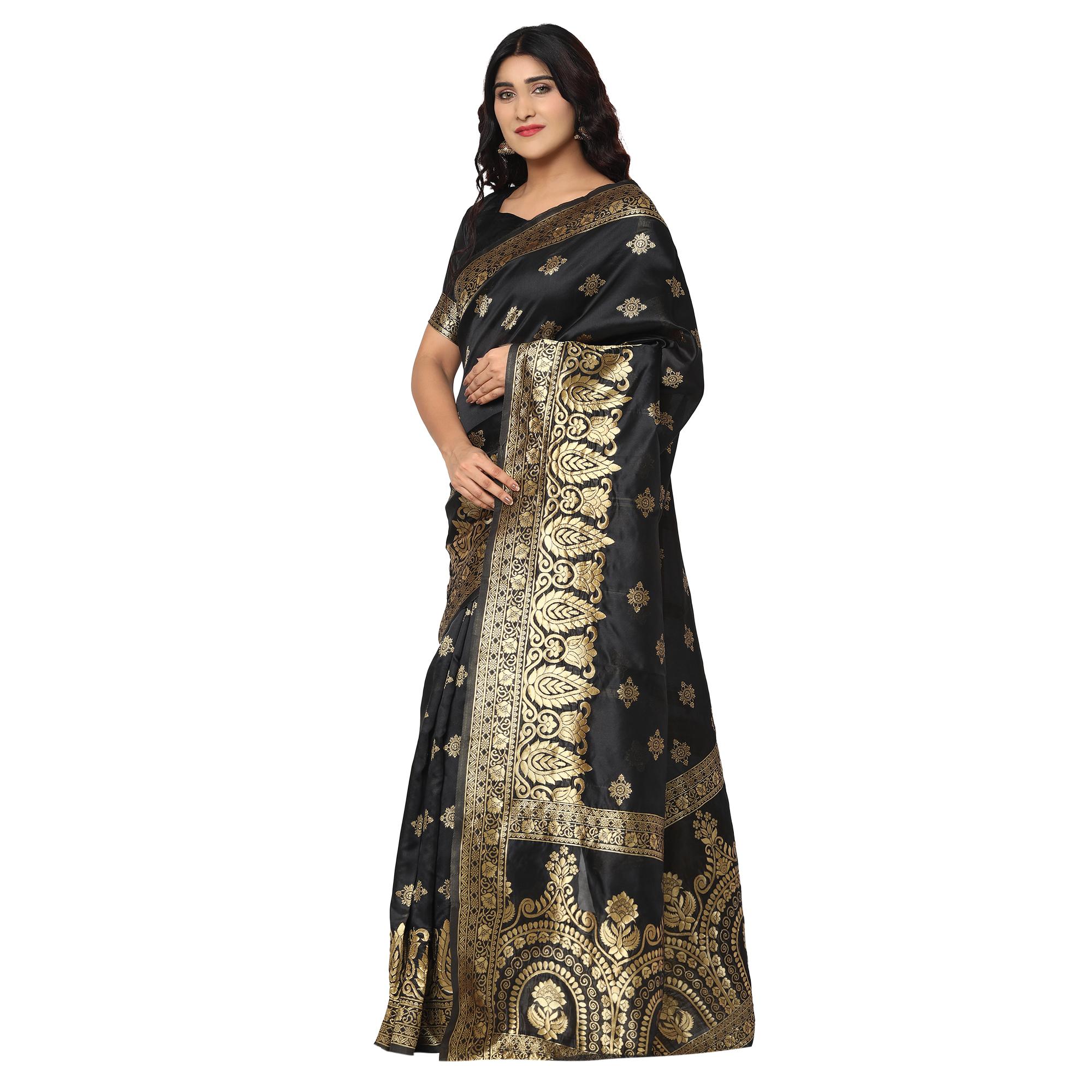 Glemora | Glemora Black Beautiful Ethnic Wear Silk Blend Banarasi Traditional Saree