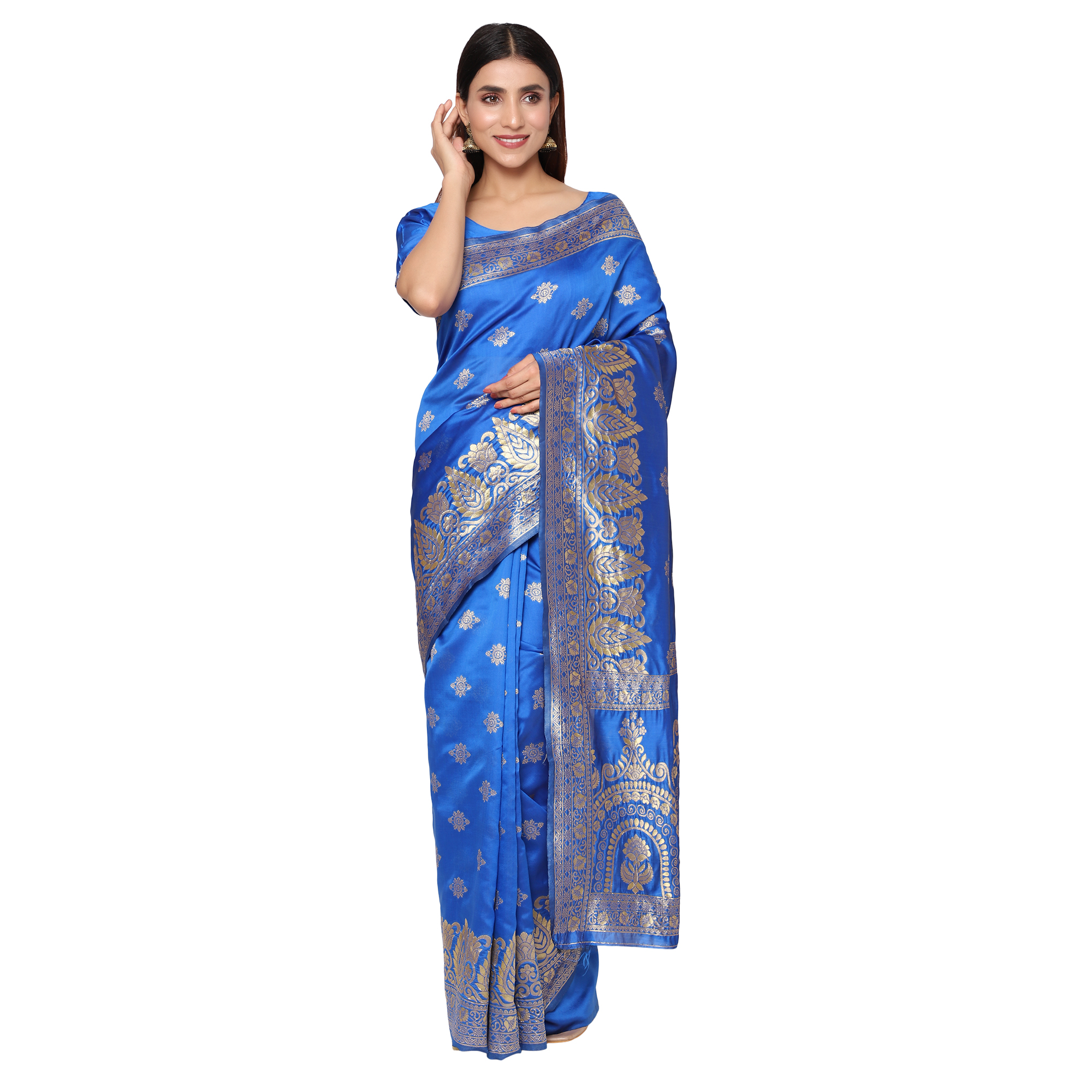 Glemora Blue Beautiful Ethnic Wear Silk Blend Banarasi Traditional Saree