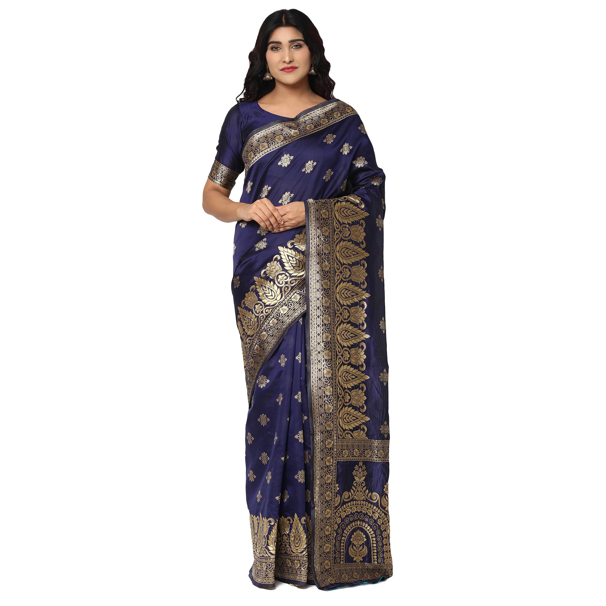 Glemora Nevy Blue Beautiful Ethnic Wear Silk Blend Banarasi Traditional Saree
