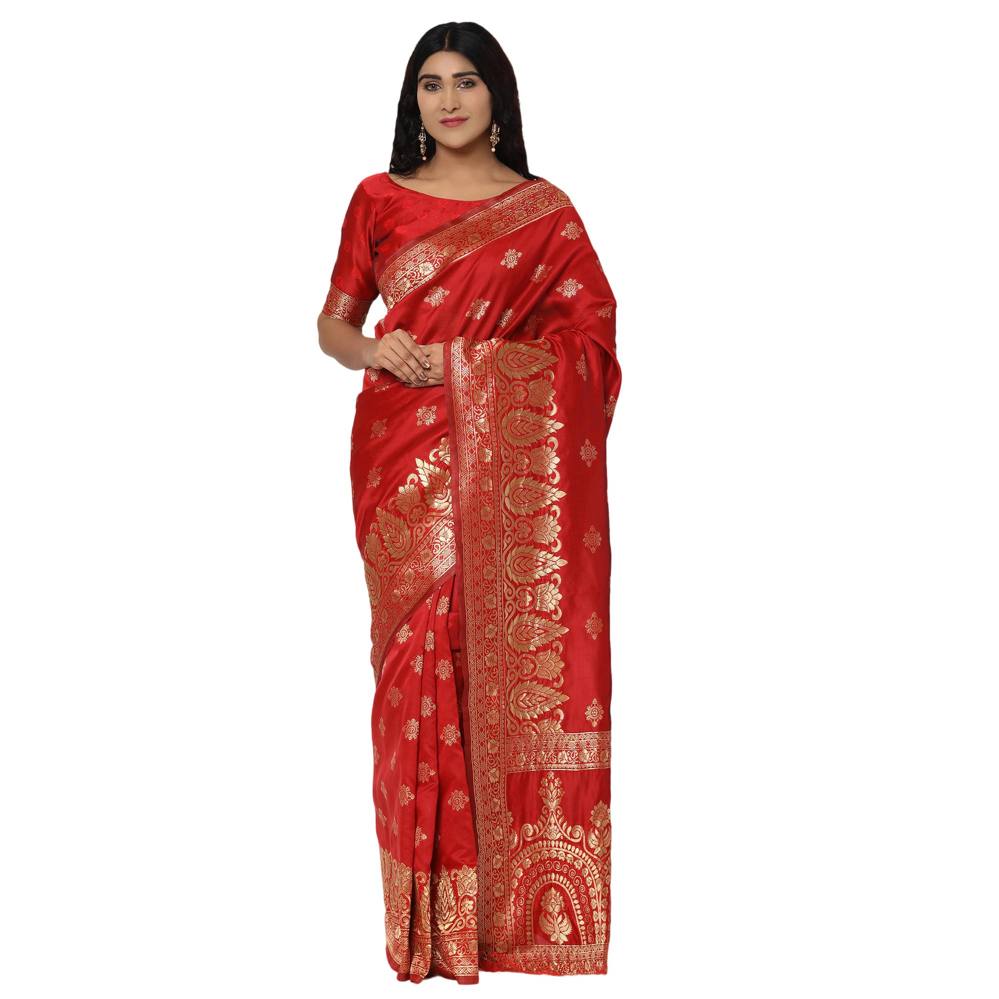 Glemora | Glemora Red Beautiful Ethnic Wear Silk Blend Banarasi Traditional Saree