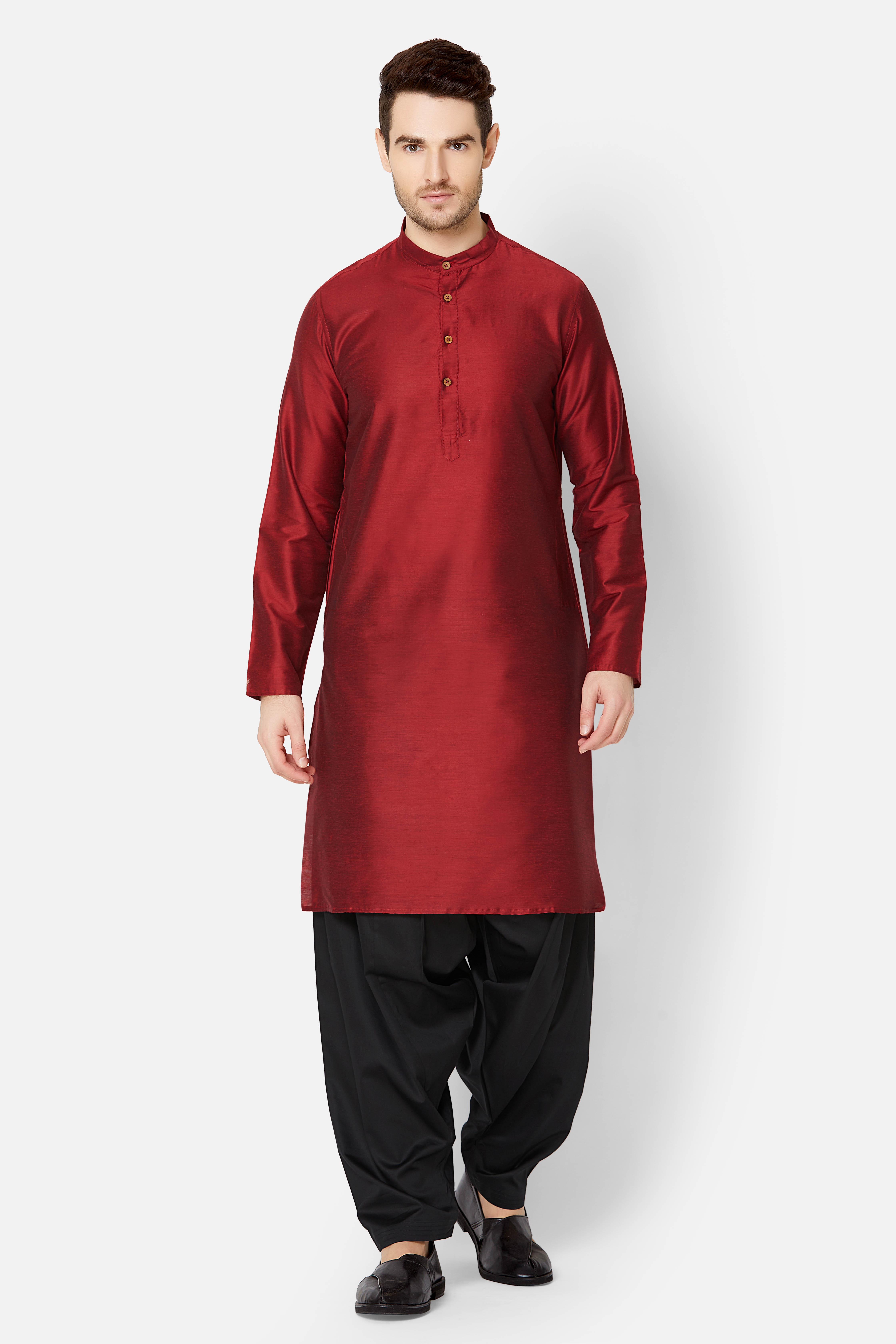 Ethnicity | Maroon Art silk  kurta set
