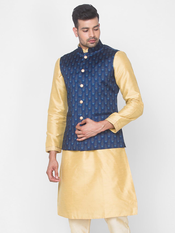 Ethnicity | Blue printed sleeveless jacket