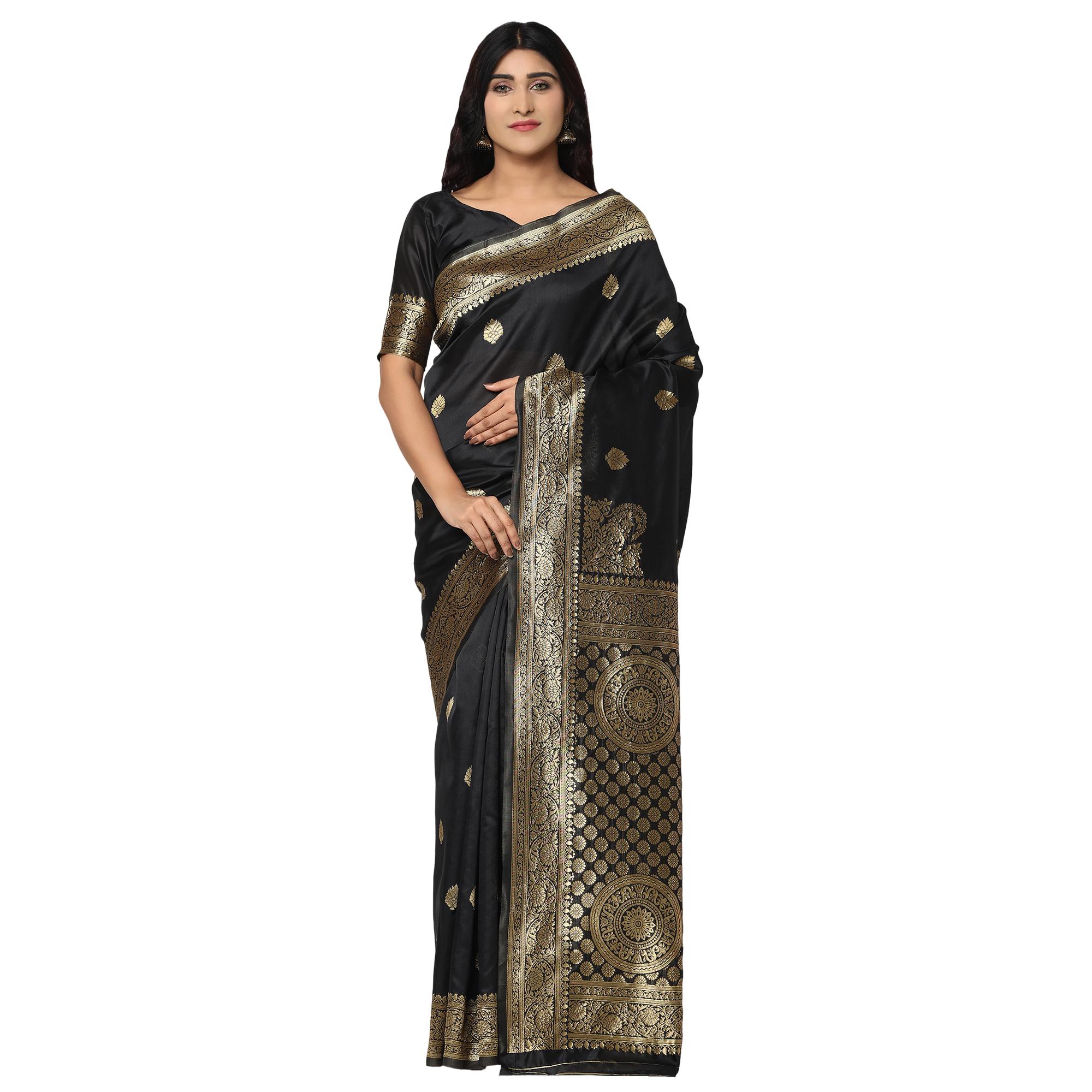 Glemora | Glemora Black Fancy Ethnic Wear Silk Blend Banarasi Traditional Saree