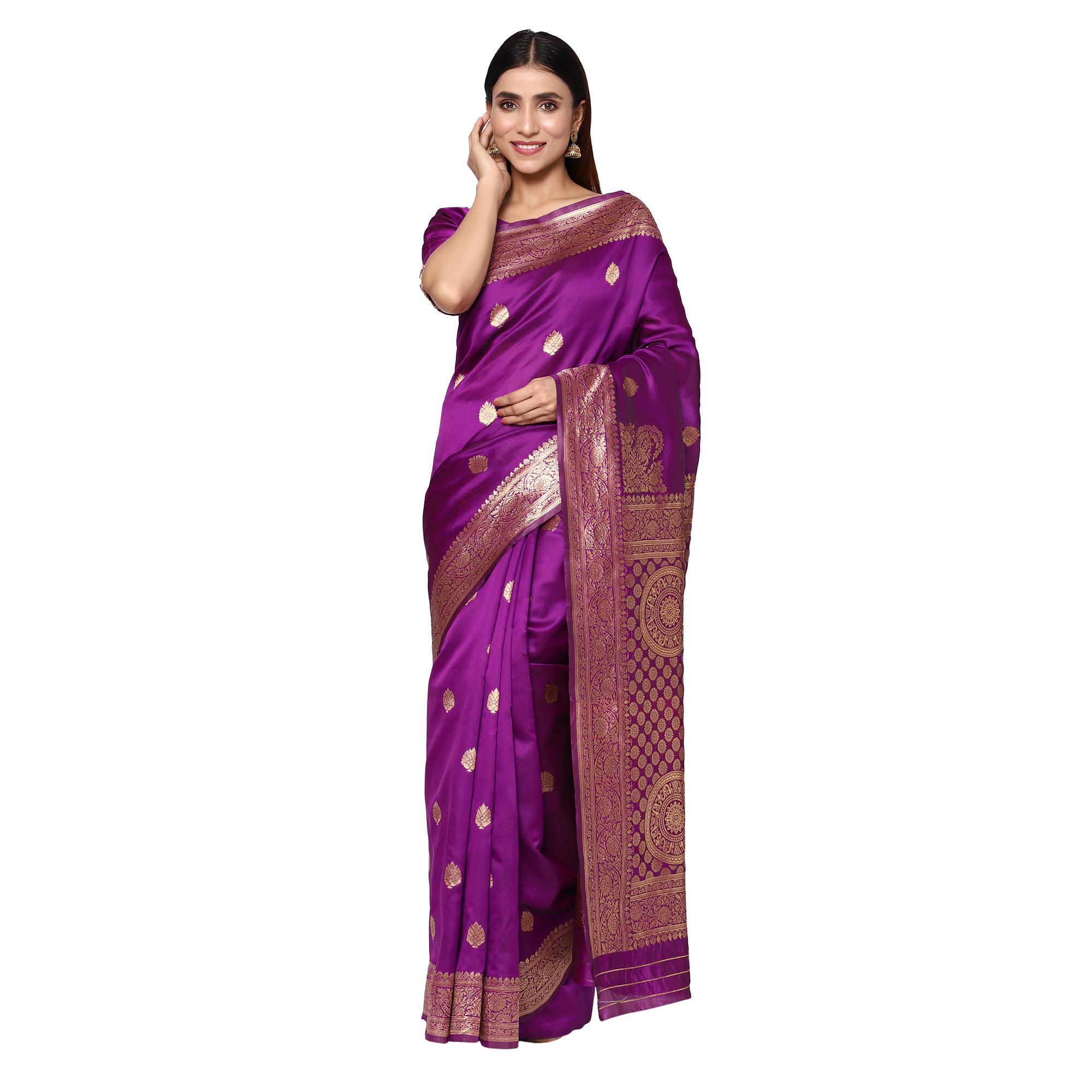 Glemora Purple Fancy Ethnic Wear Silk Blend Banarasi Traditional Saree