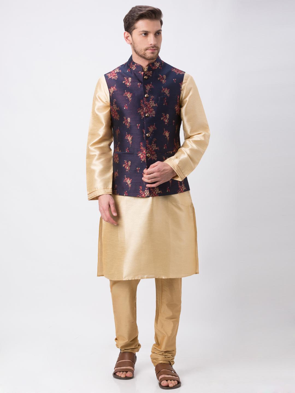 Ethnicity | Ethnicity Full Sleeve Polyester Blend Navy Men Jackets