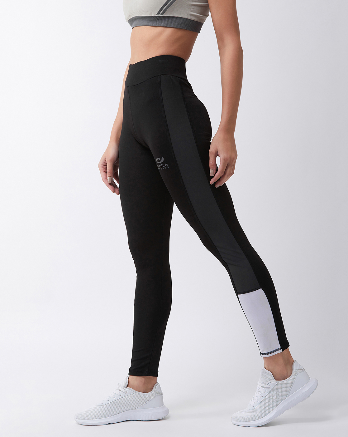 Masch Sports   Masch Sports Women's Black Solid Sports Tights with Dual Colour Grey and White Side Panel