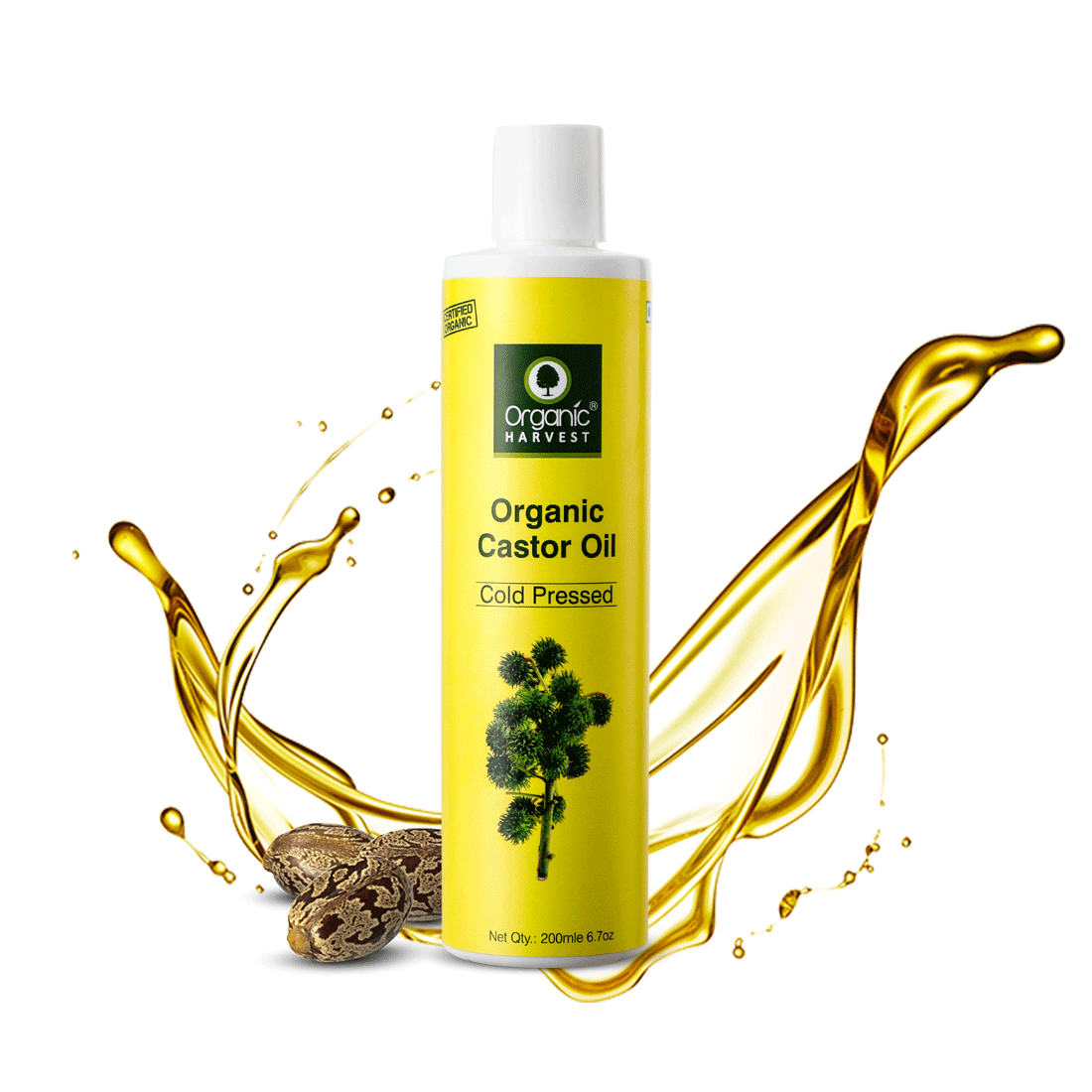 Organic Harvest | Organic Harvest Cold Pressed Castor Oil, For Moisturizing Skin, Hair & Nail Growth, Eyelash Thickening, 100% Pure, 100% Organic, Sulphate And Paraben Free – 200 ml