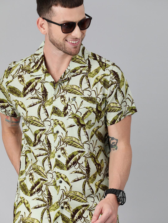 The Bear House | THE BEAR HOUSE Men Green Slim Printed Hawaiian Short Sleeves Shirt