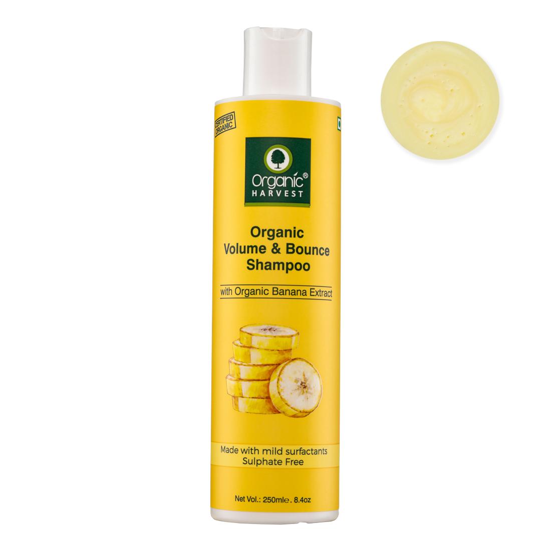 Organic Harvest | Organic Harvest's Pure Banana Extract Volumizing Shampoo, Free From Parabens & Sulphates, Suitable Volume Shampoo for Thin Hair, 250 ml